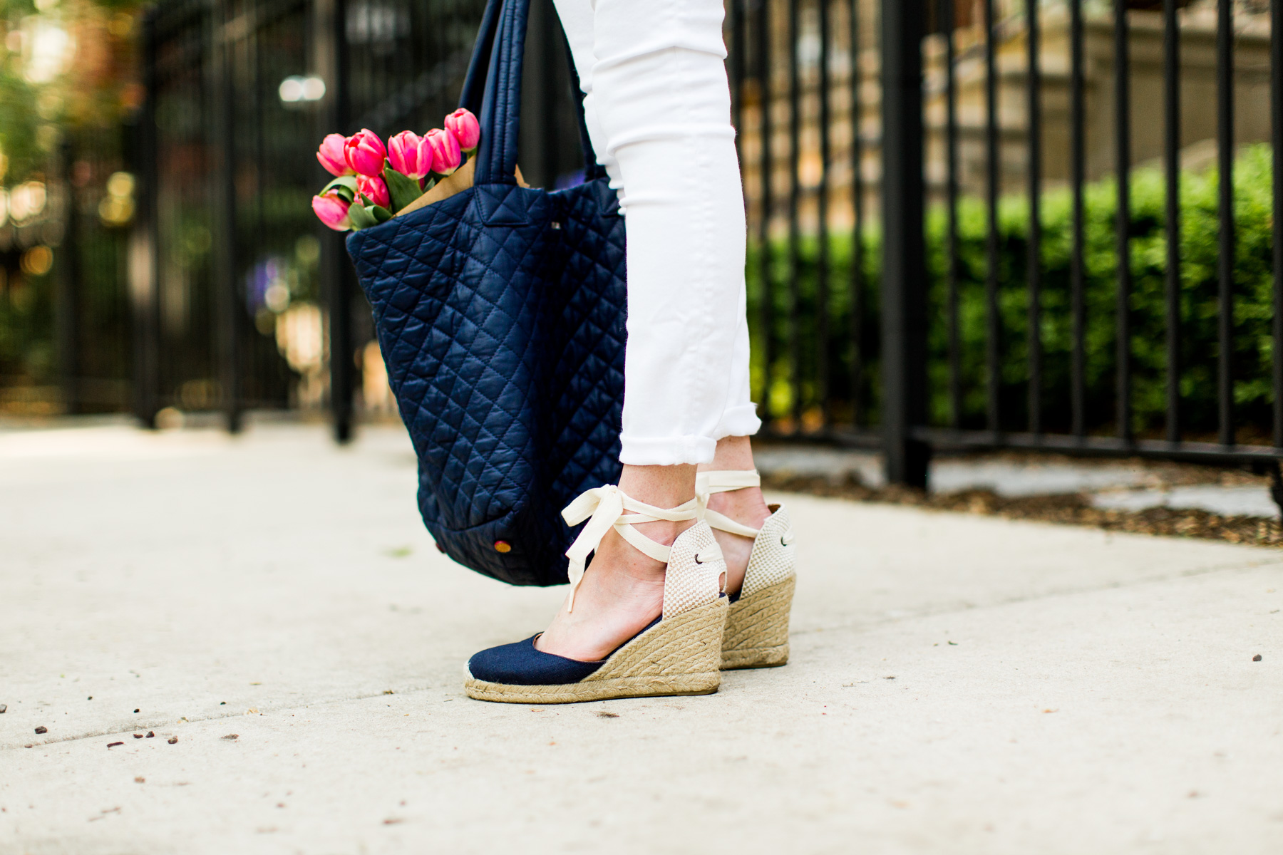 Quilted Tote / Navy Espadrilles / New White Jeans