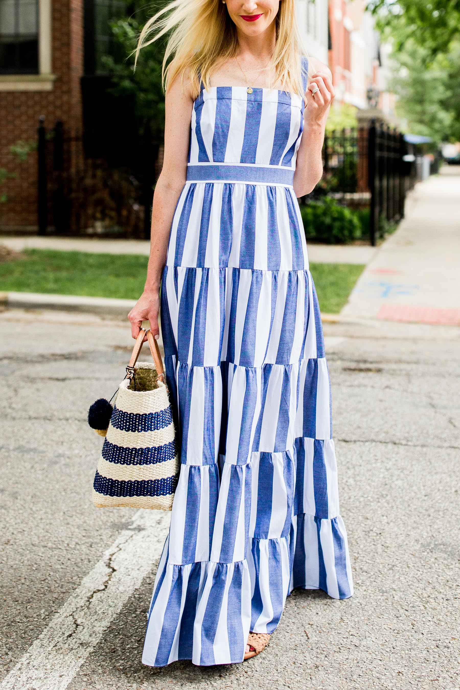 d617a500799 Stripe Tiered Maxi Sundress ELIZA J