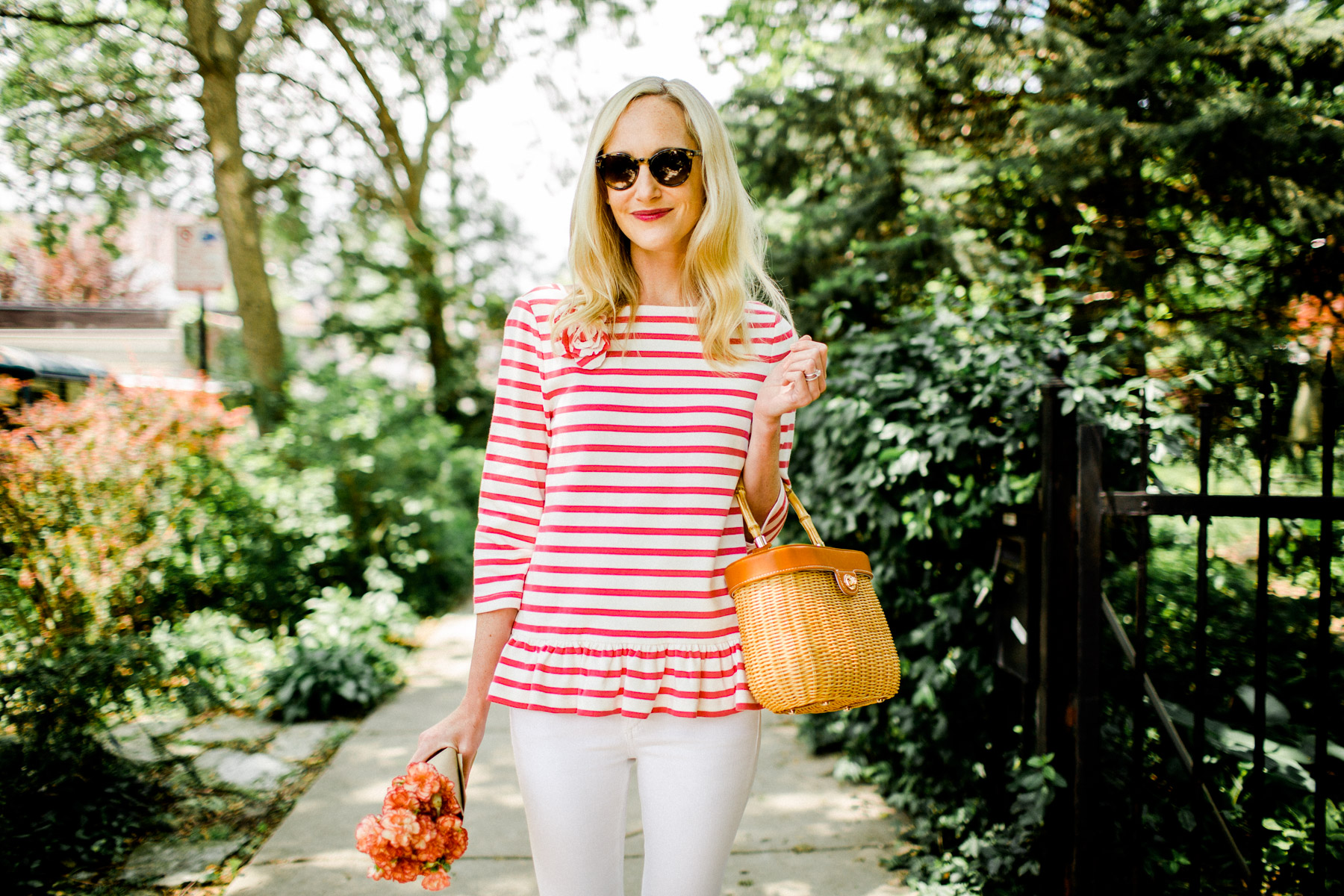 stripe corsage tee KATE SPADE NEW YORK