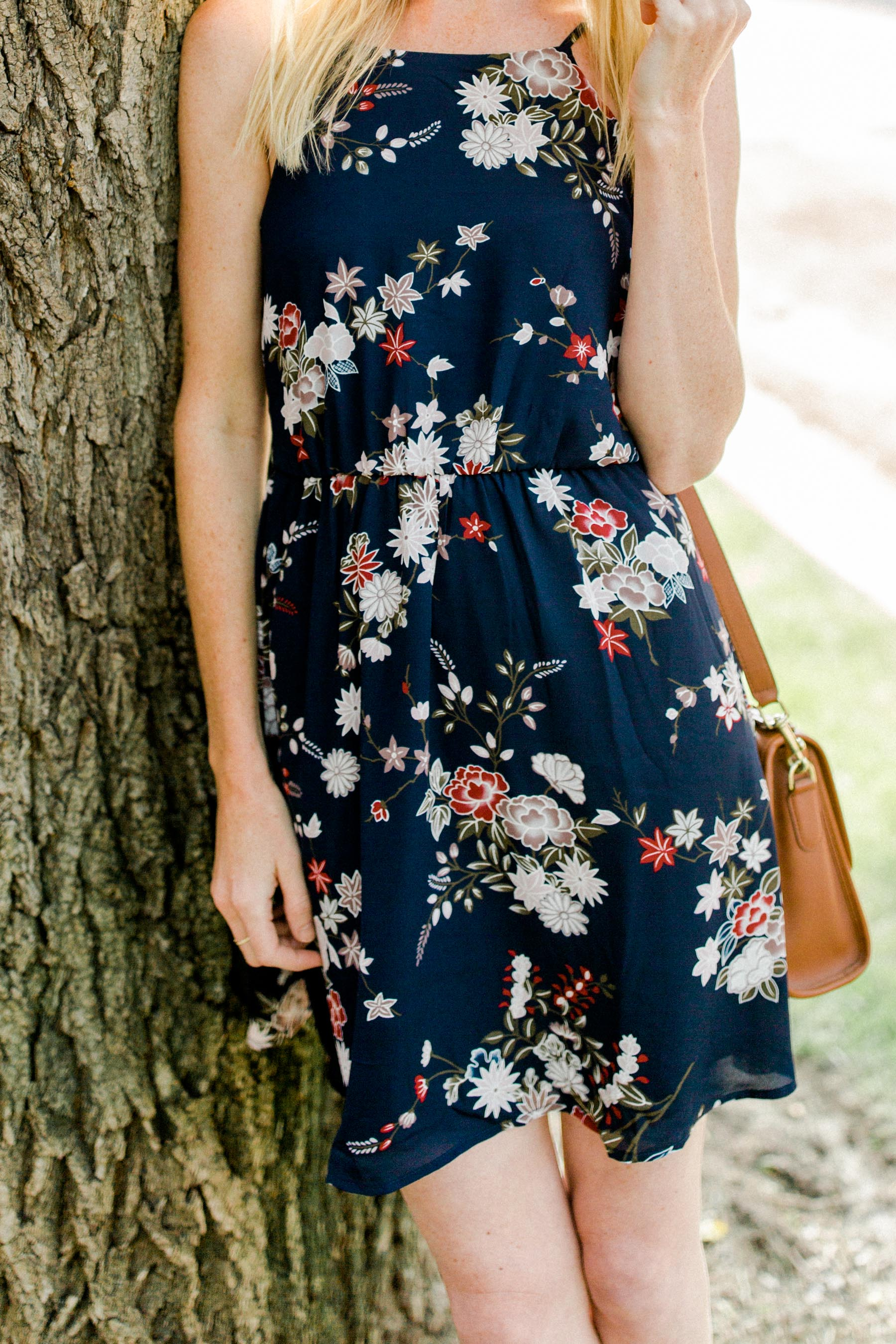 Navy blue floral dress for any season