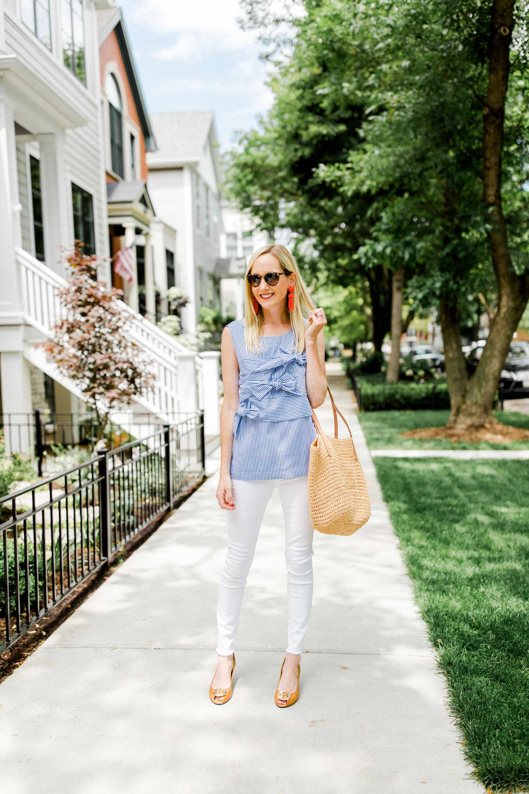 Bow Top / Tory Burch Wedges / Straw Tote / Lisi Lerch Earrings /ThirdLove Strapless Bra