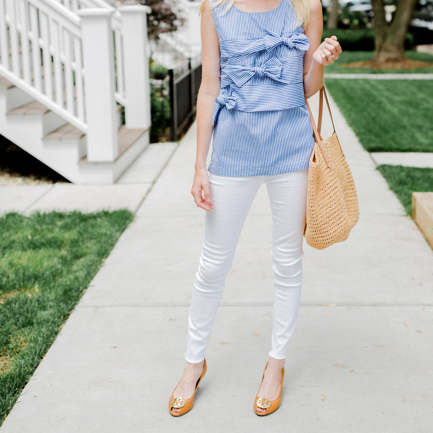 Bow Top / Tory Burch Wedges / Straw Tote /ThirdLove Strapless Bra