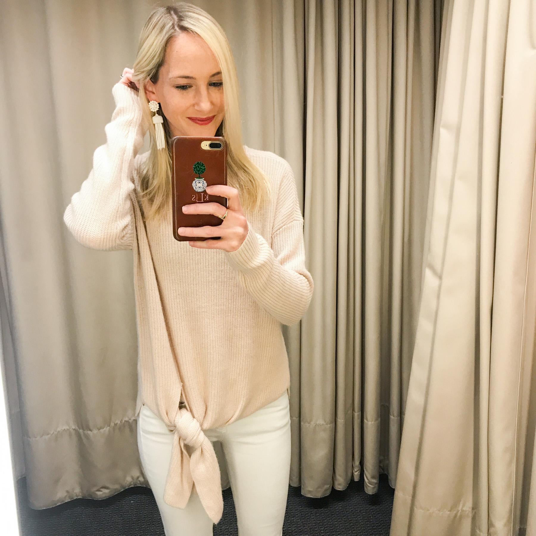 Tie-Hem Sweater/Hudson White Skinny Jeans