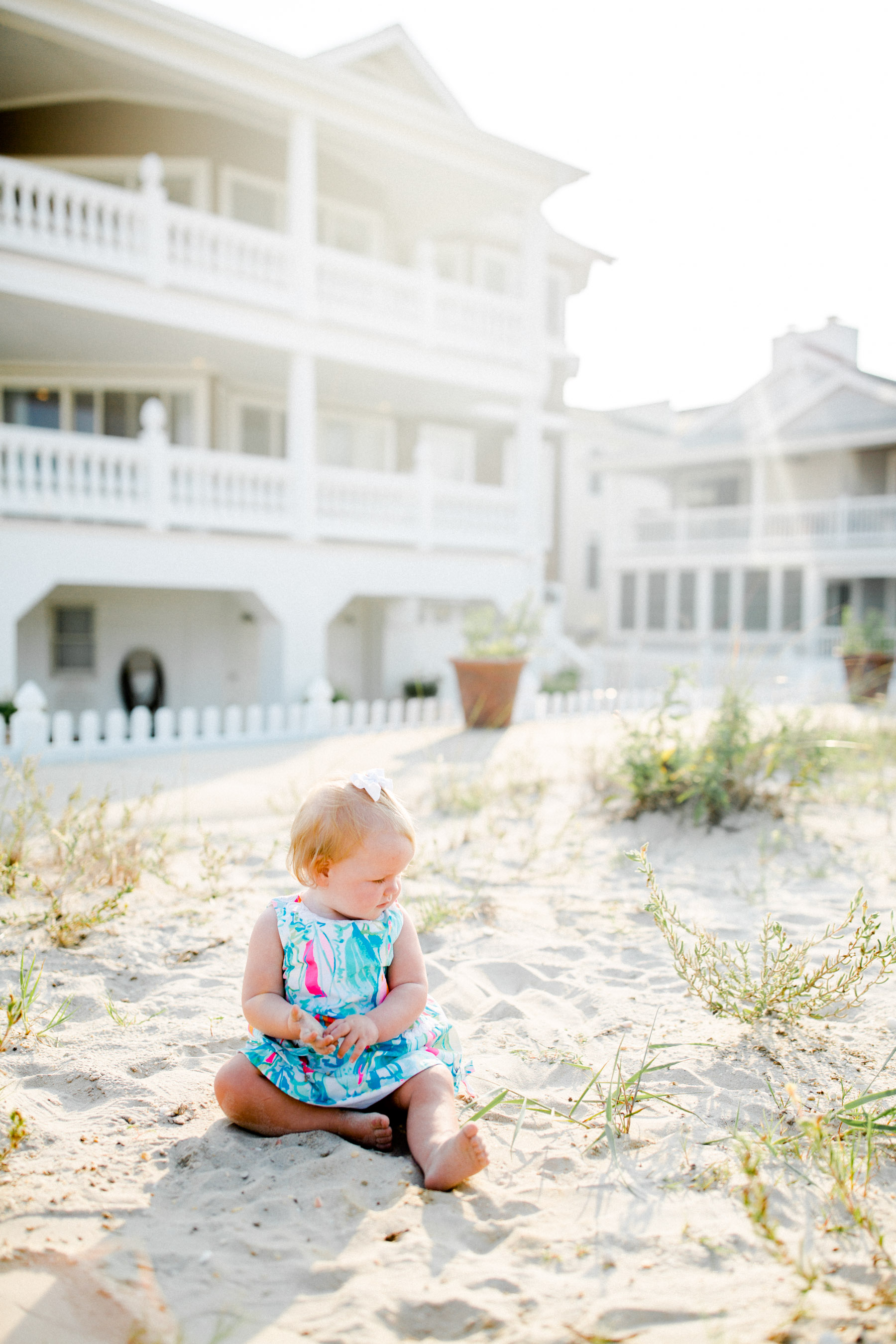 Lilly Pulitzer baby in sand