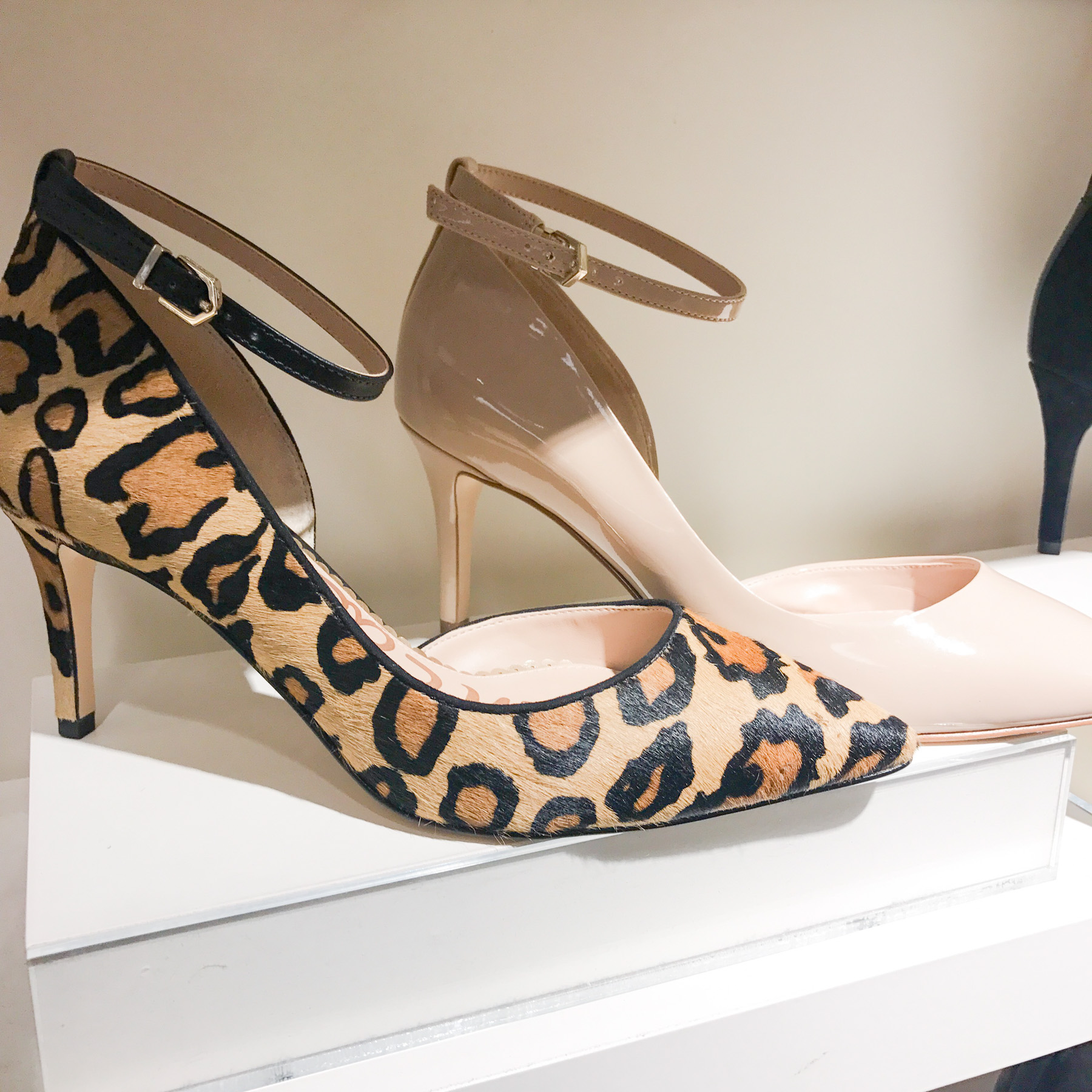 leopard and nude pumps