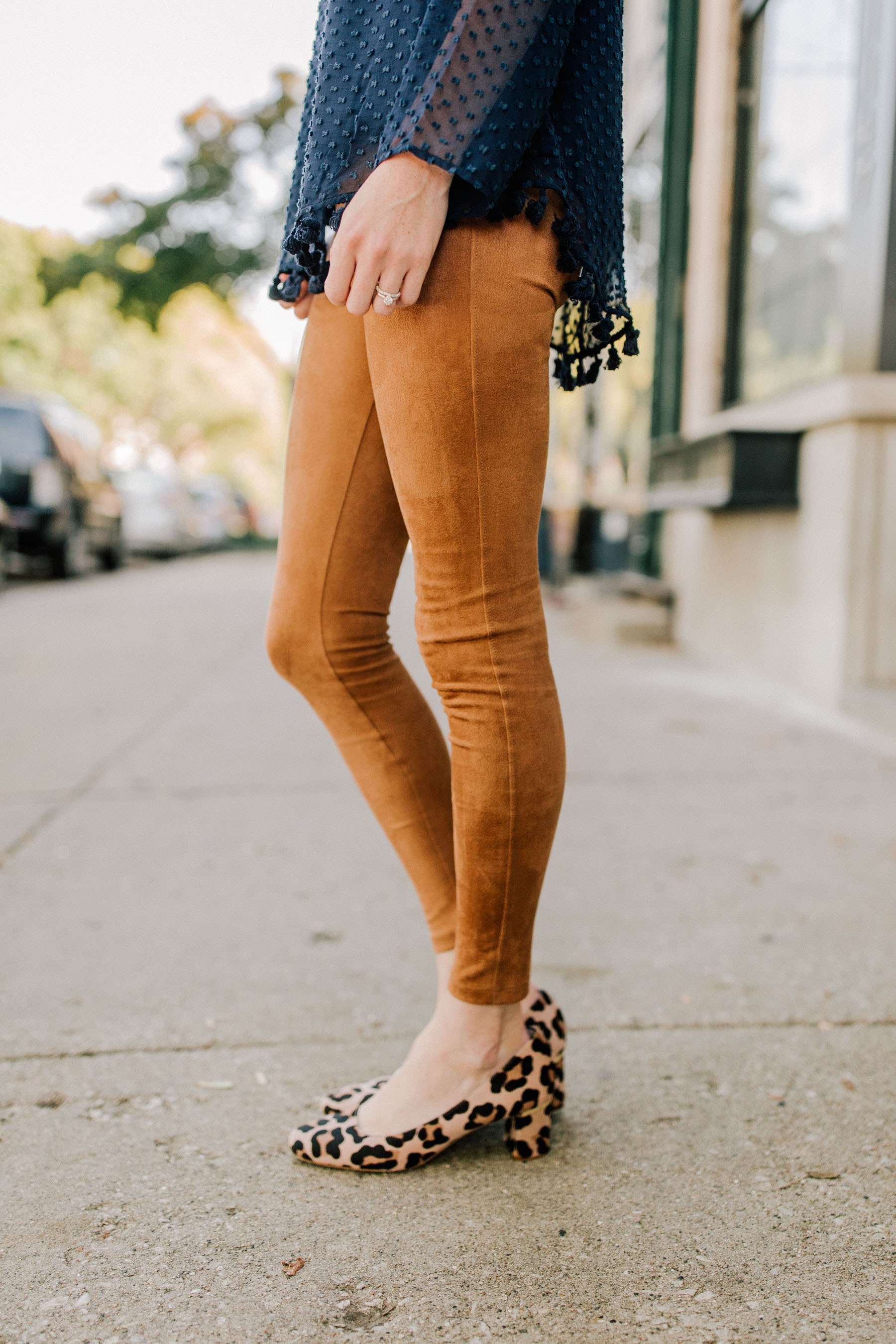 5f4930ec107b7 David Lerner Suede Leggings (Love the leather pair, too.) / Kate Spade  Block Heel Leopard Pumps (Also love the mules. More affordable block heel  option: ...