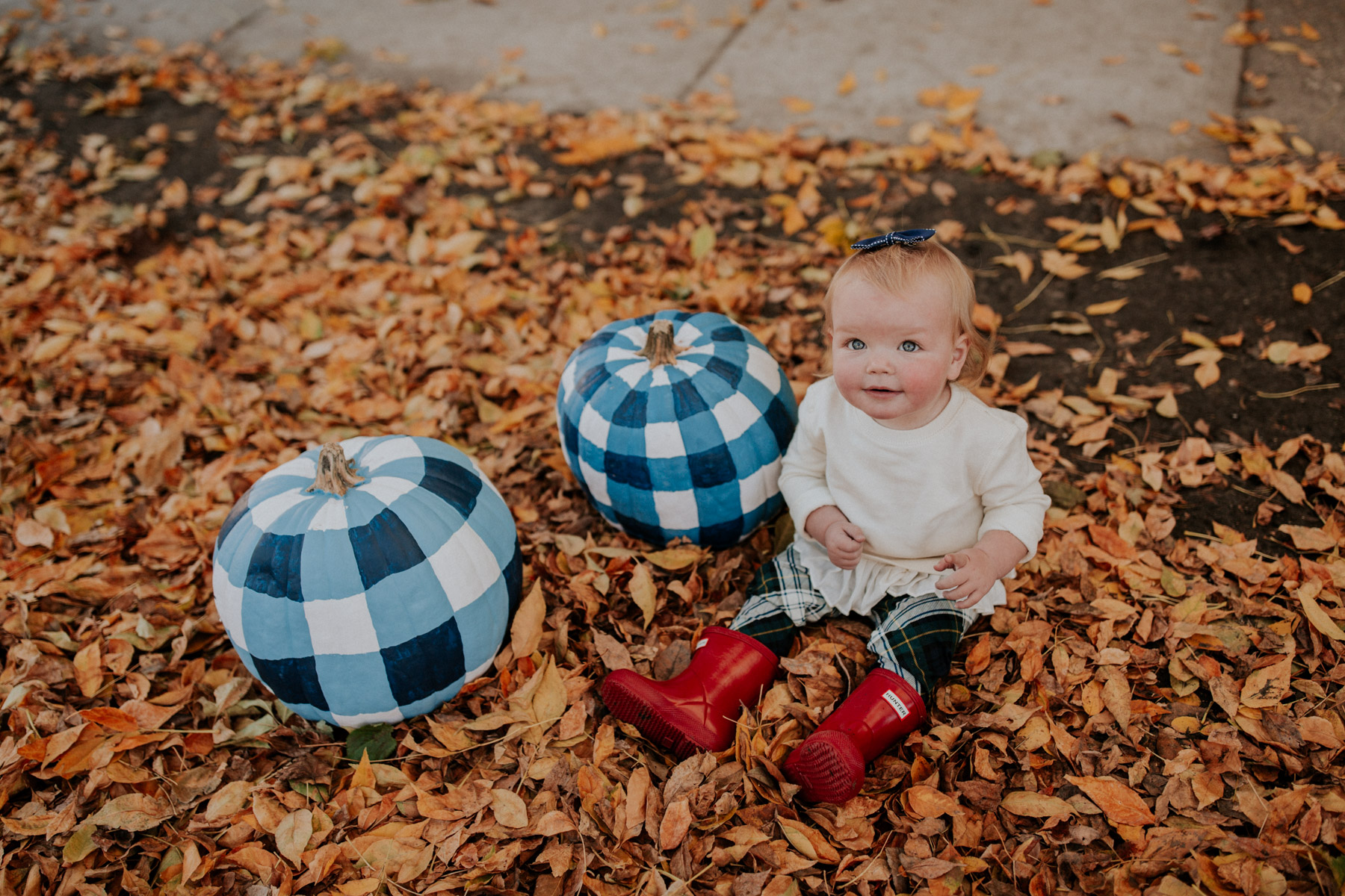 Baby Emma and Gingham Pumpkins