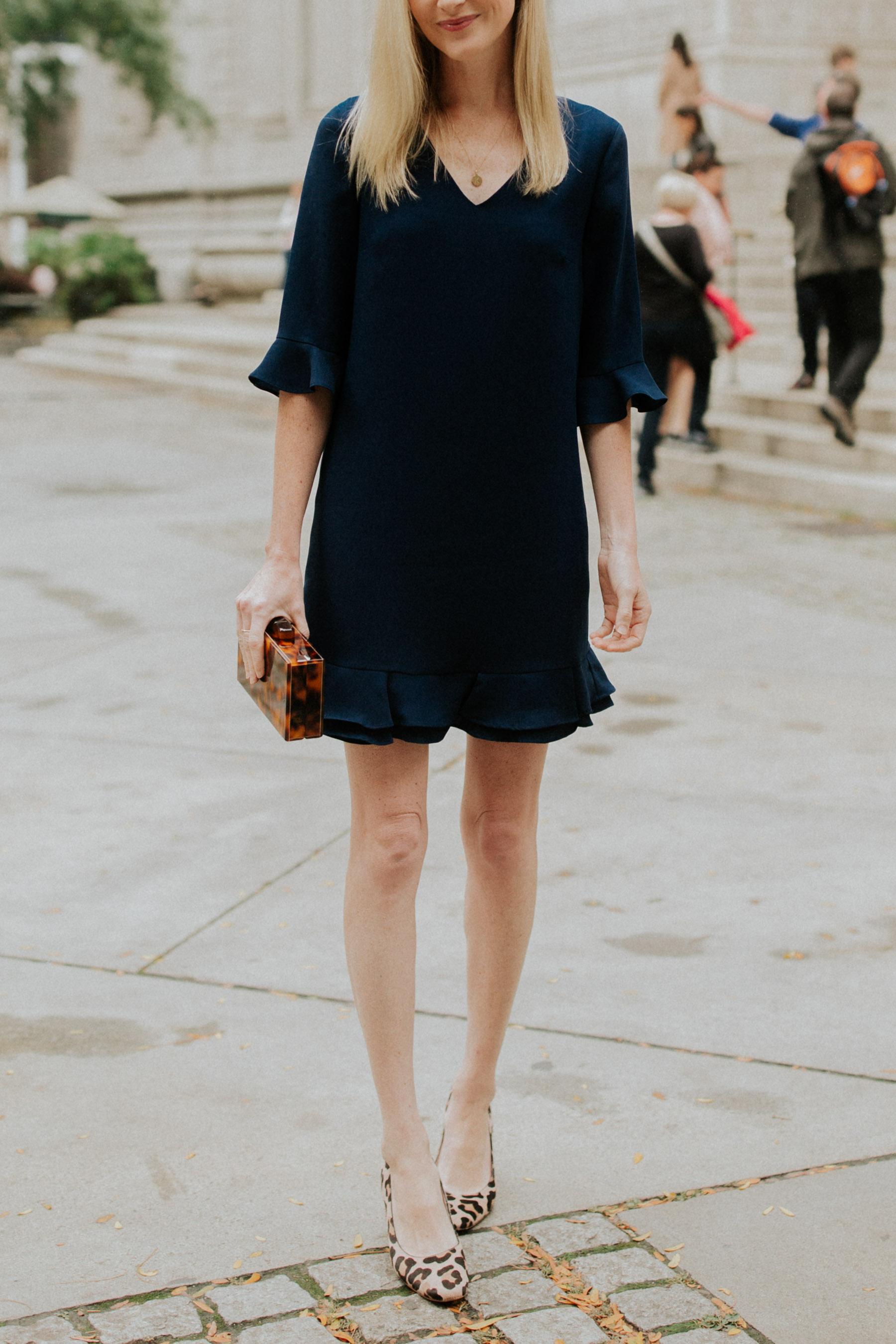 no wrinkle navy dress
