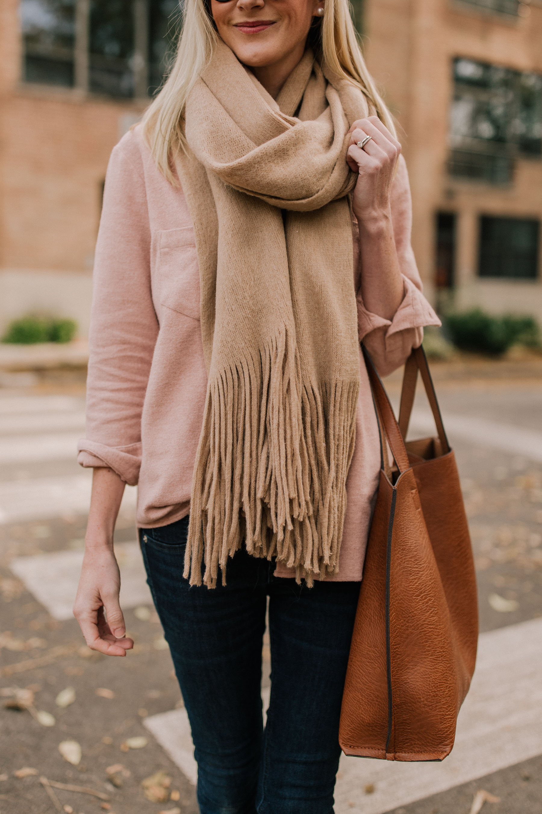 pink flannel paired with a brown Fall scarf