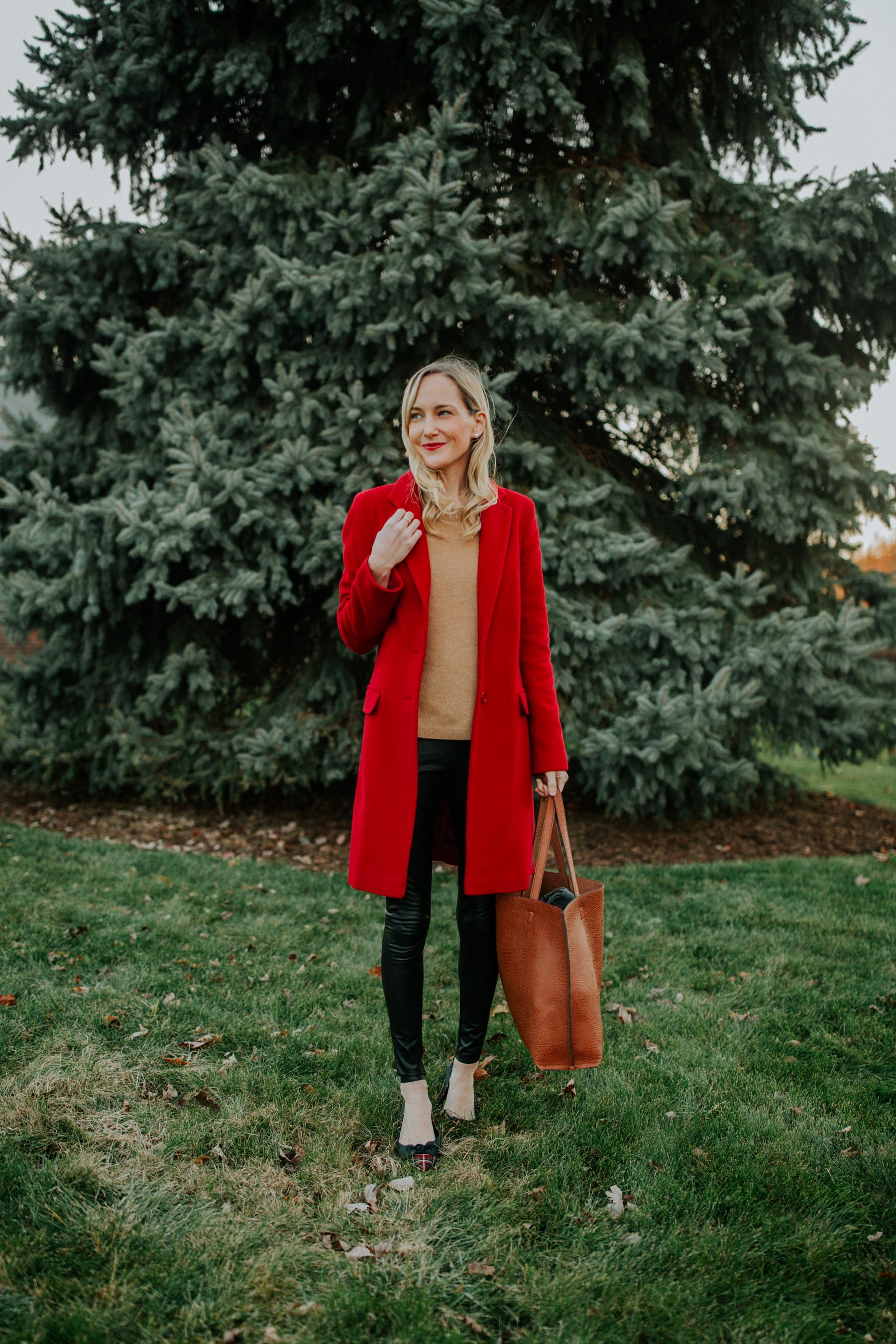 Red winter coat: Casual Preppy Christmas Outfit
