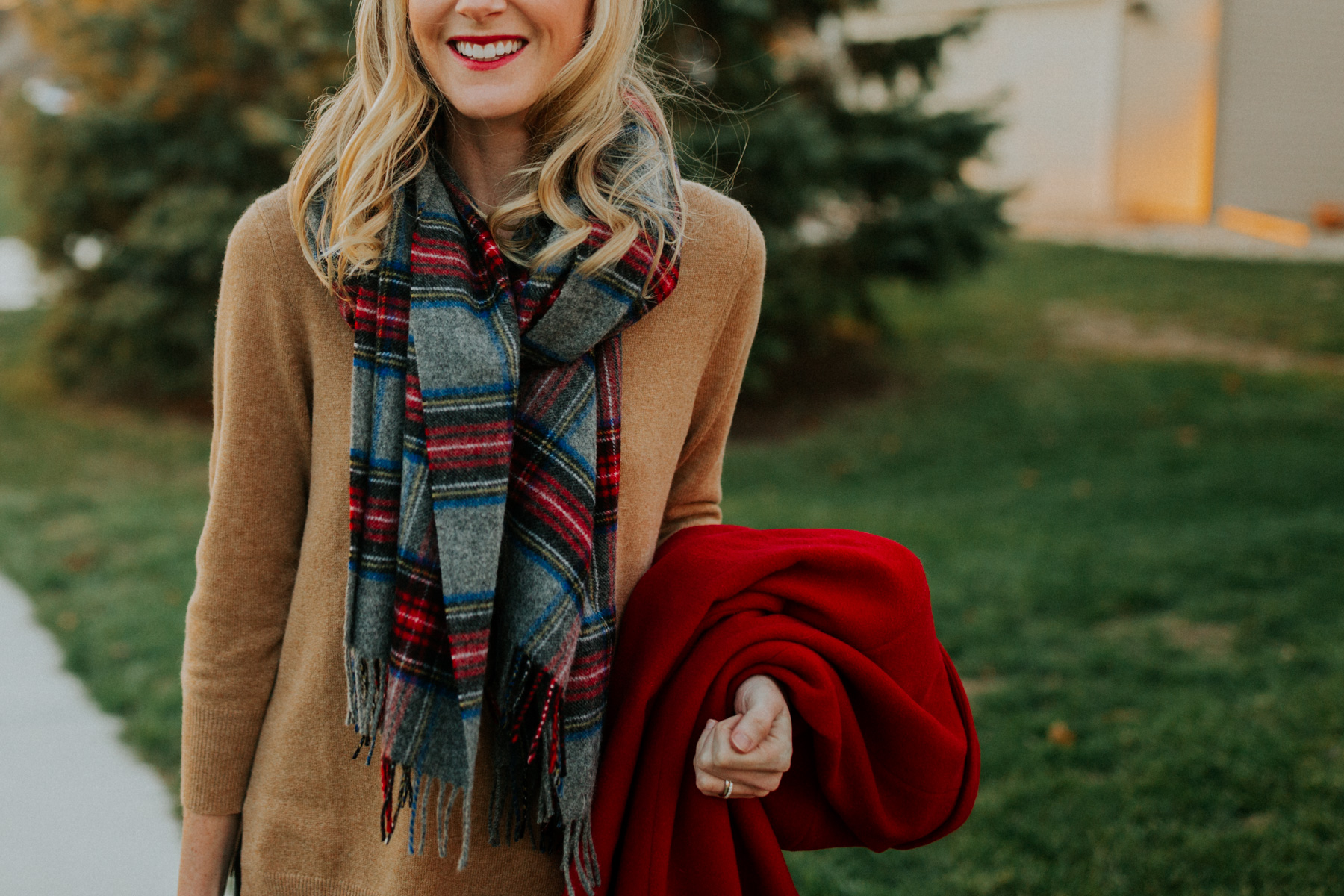 Casual Preppy Christmas Outfit: camel sweater and plaid scarf