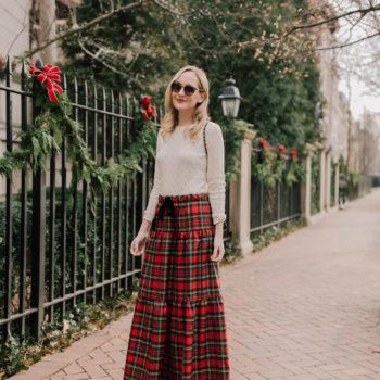 Tiered Tartan Maxi Skirt