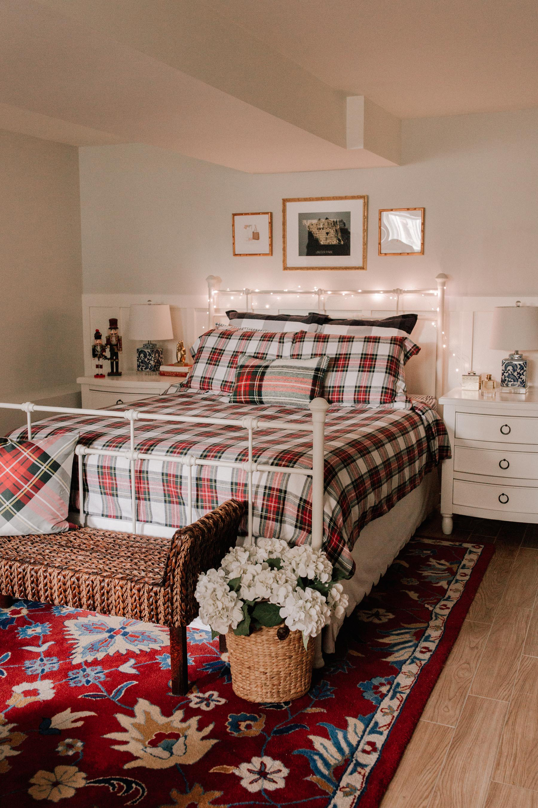 plaid christmas decor bedding