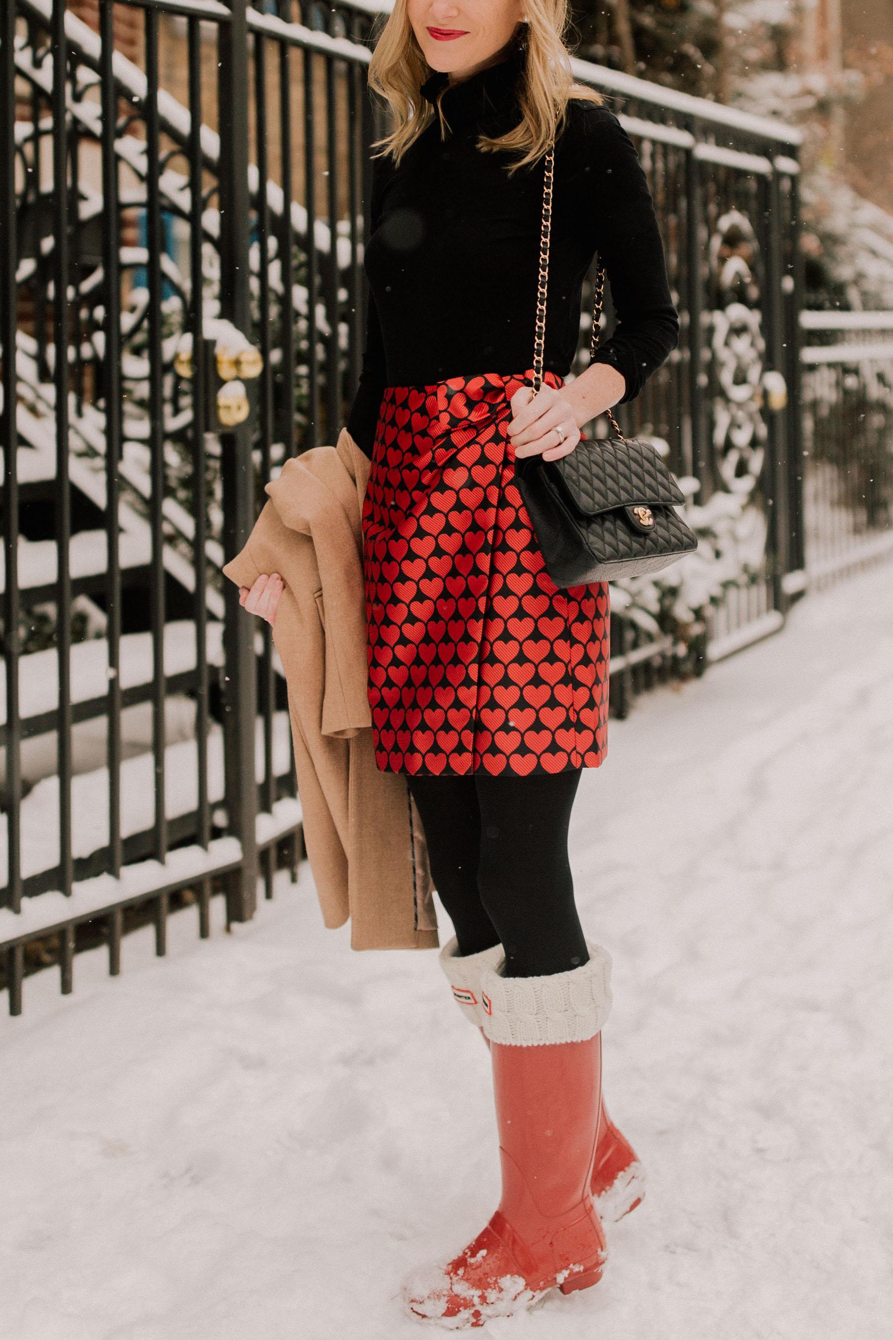 Heart Skirt / J.Crew Topcoat / Chanel Bag / Black Turtleneck / Hunter Boots / Black Tights - Kelly in the City