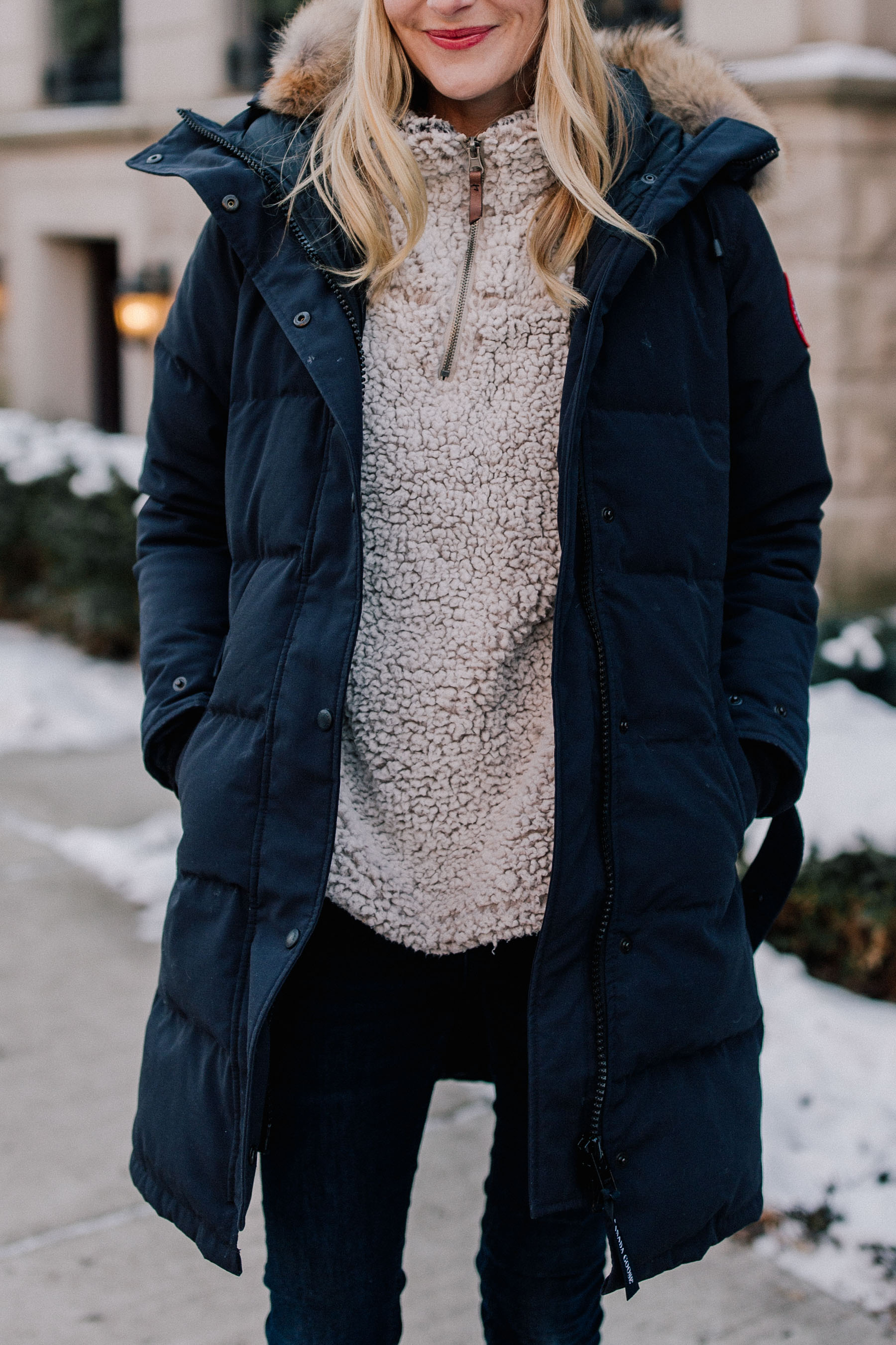 Navy Coat For Winter in Chicago