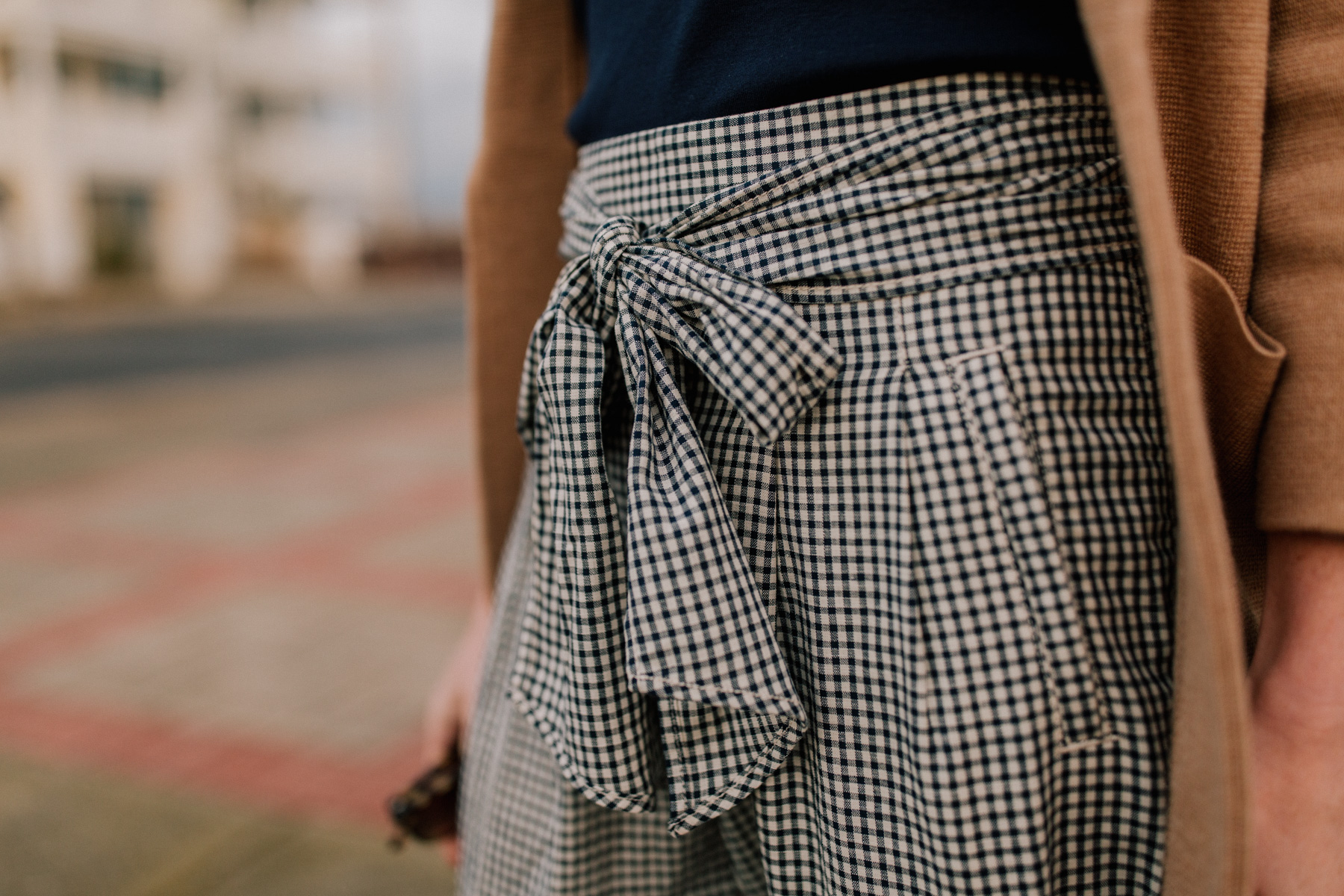 Gingham Pants With Bow