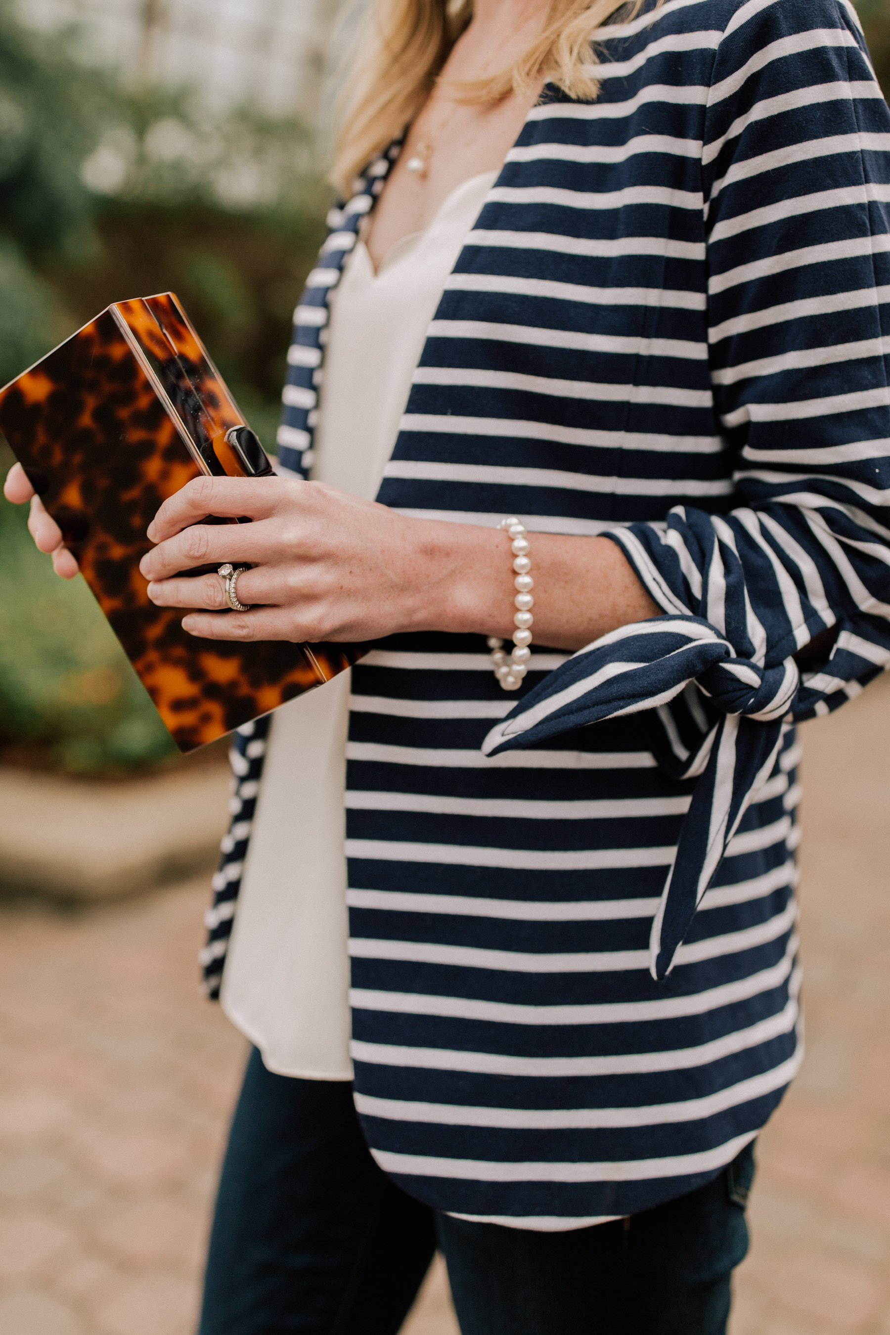 Pearls & Stripes: Transitional Look