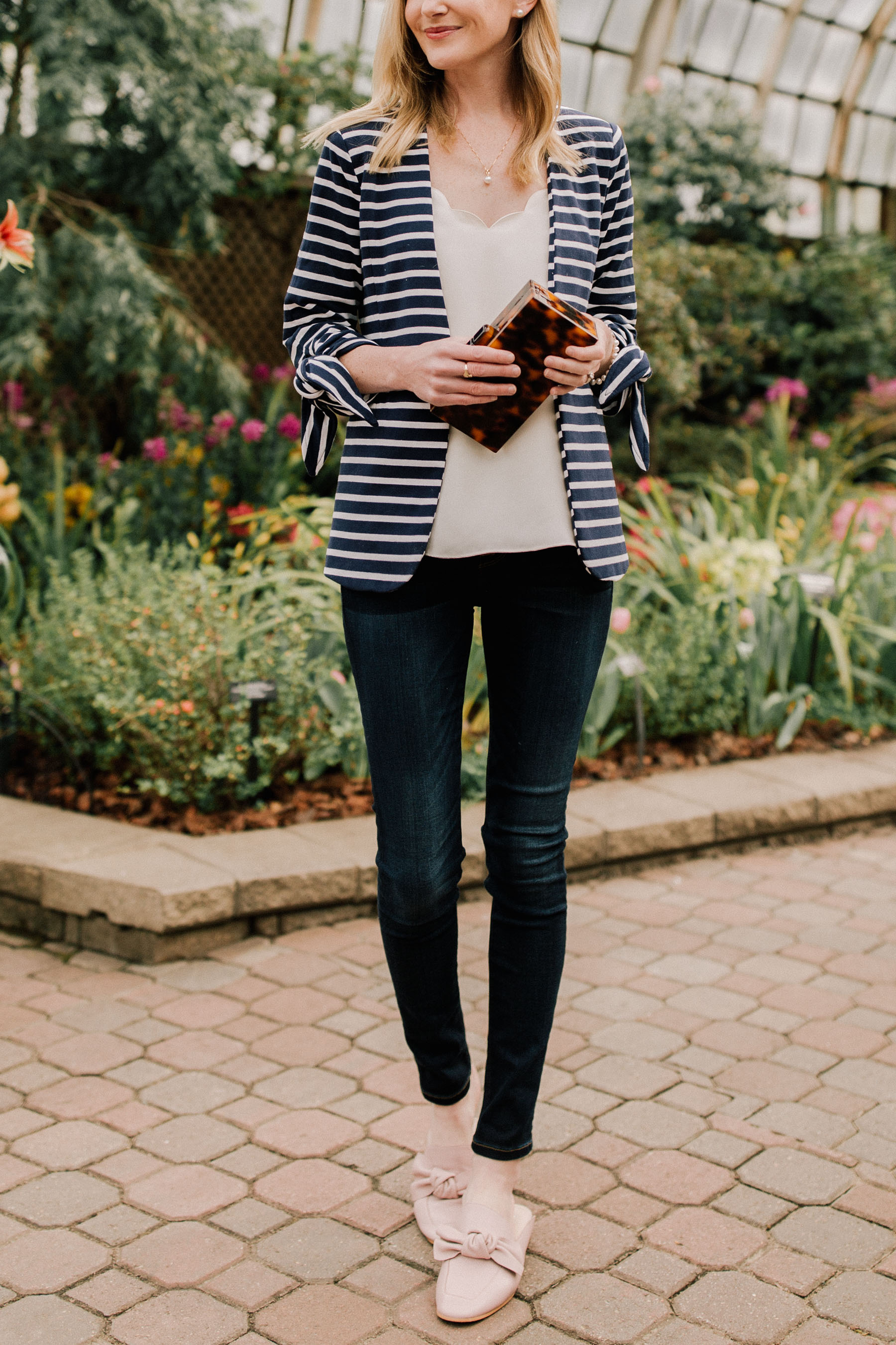 Pearls & Stripes: Transitional Look. Navy striped blazer and pearls outfit