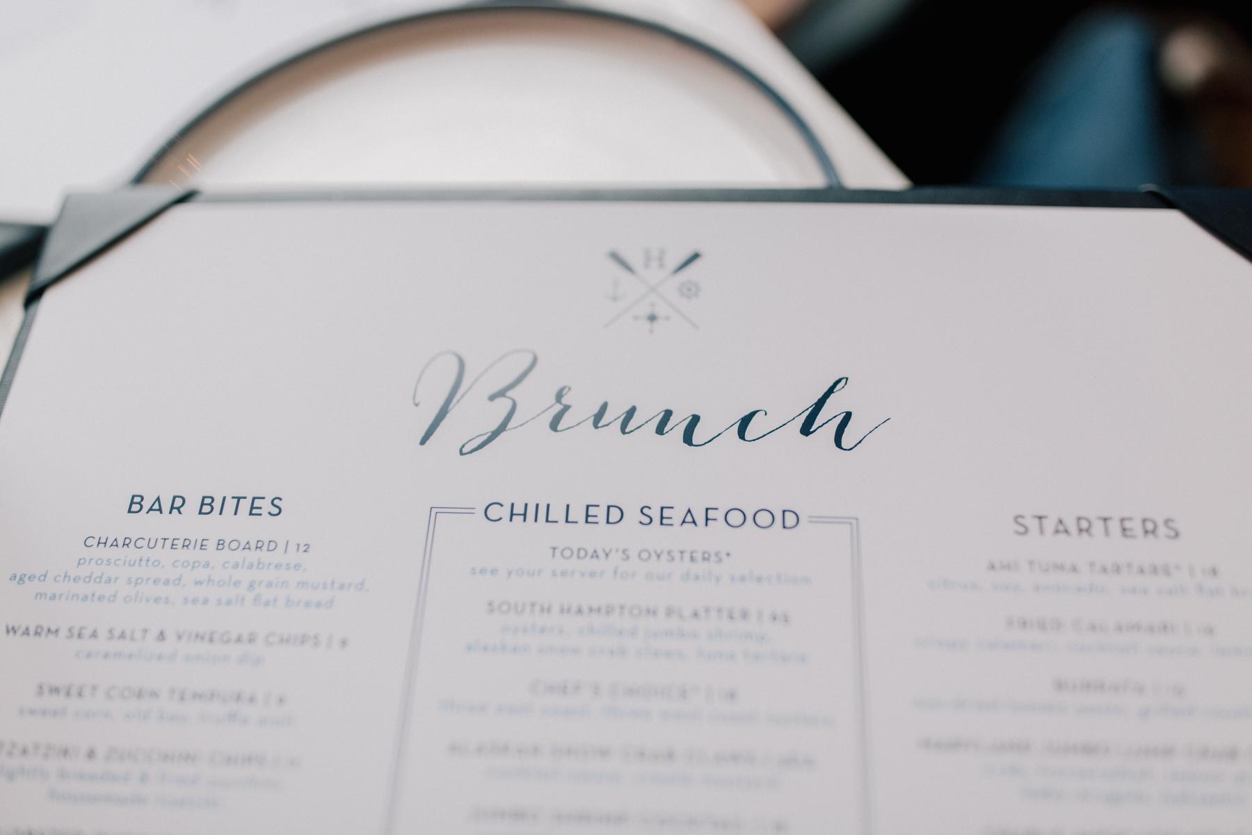 Hampton social Brunch menu