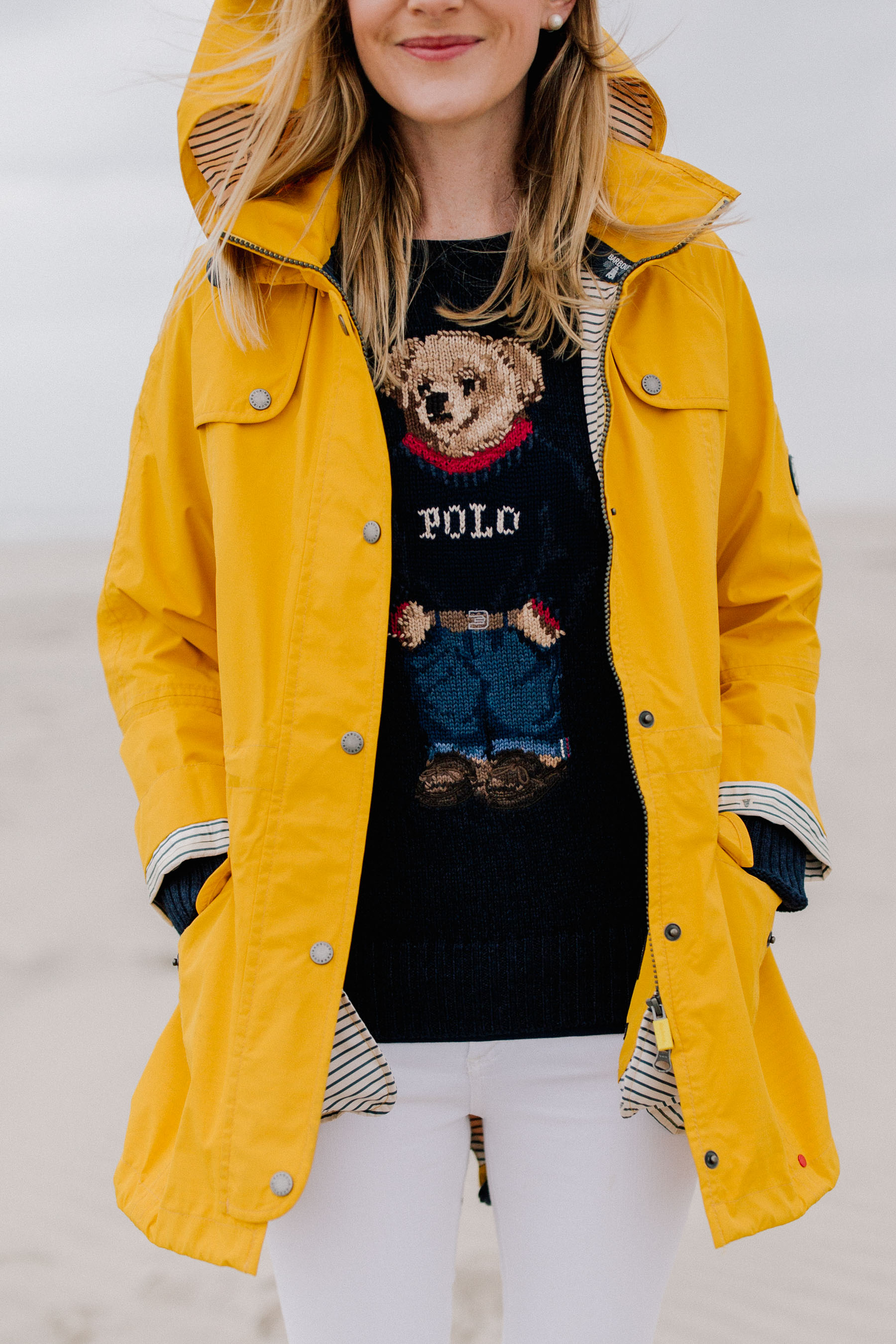 531611903 The Cutest Yellow Rain Jacket Plus A Ralph Lauren Teddy Bear Sweater