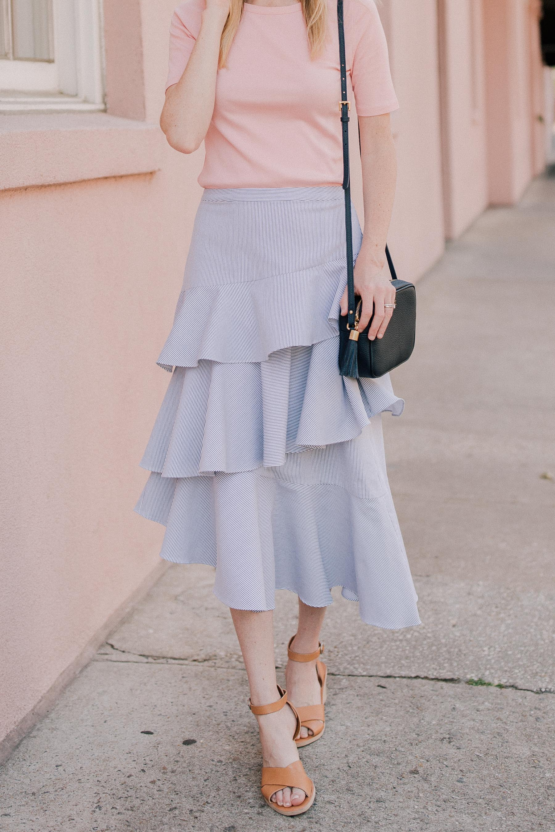 gorgeous blue ruffle pleated skirt
