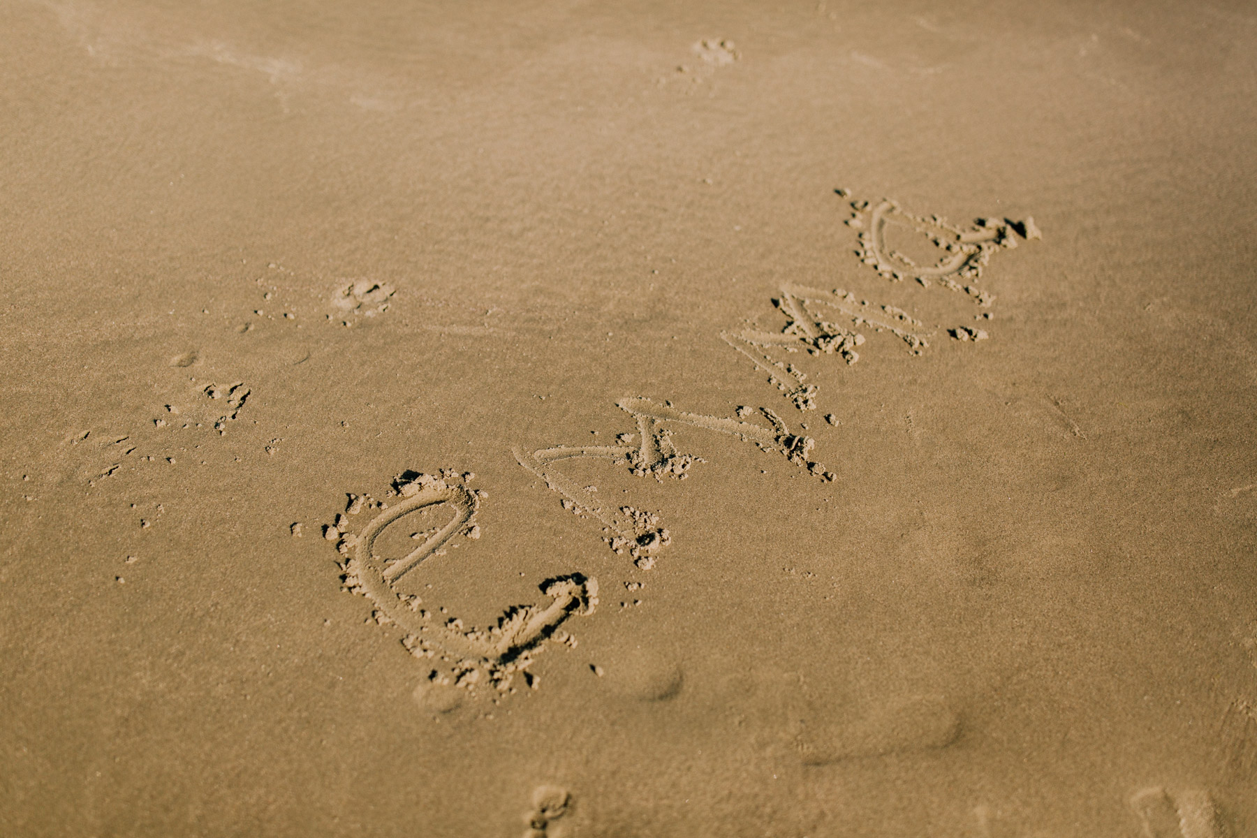 Emma's Name in the Sand at Isle of Palms Beach