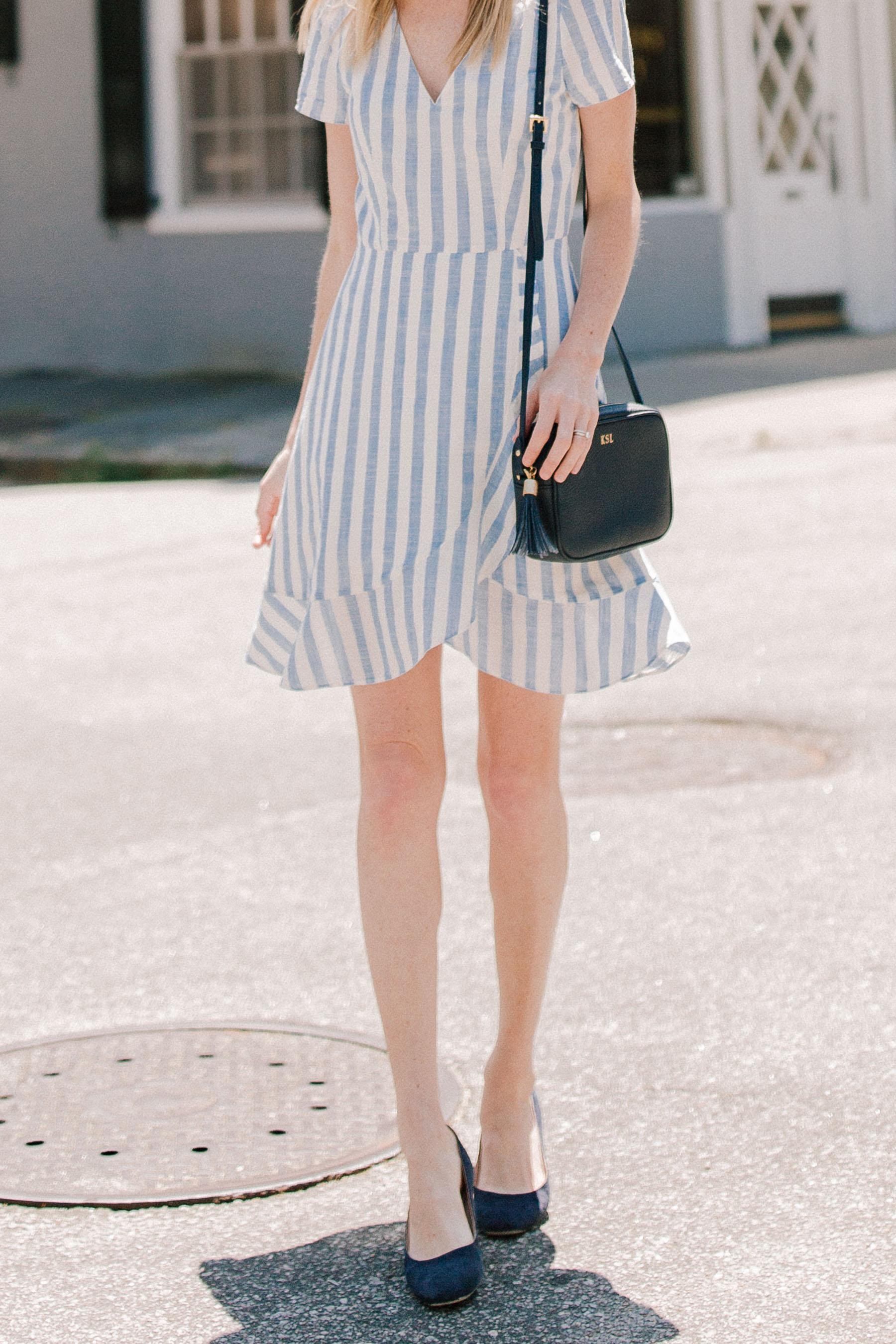 Striped Ruffle Wrap Dress By Jcrew Factory Kelly In The City