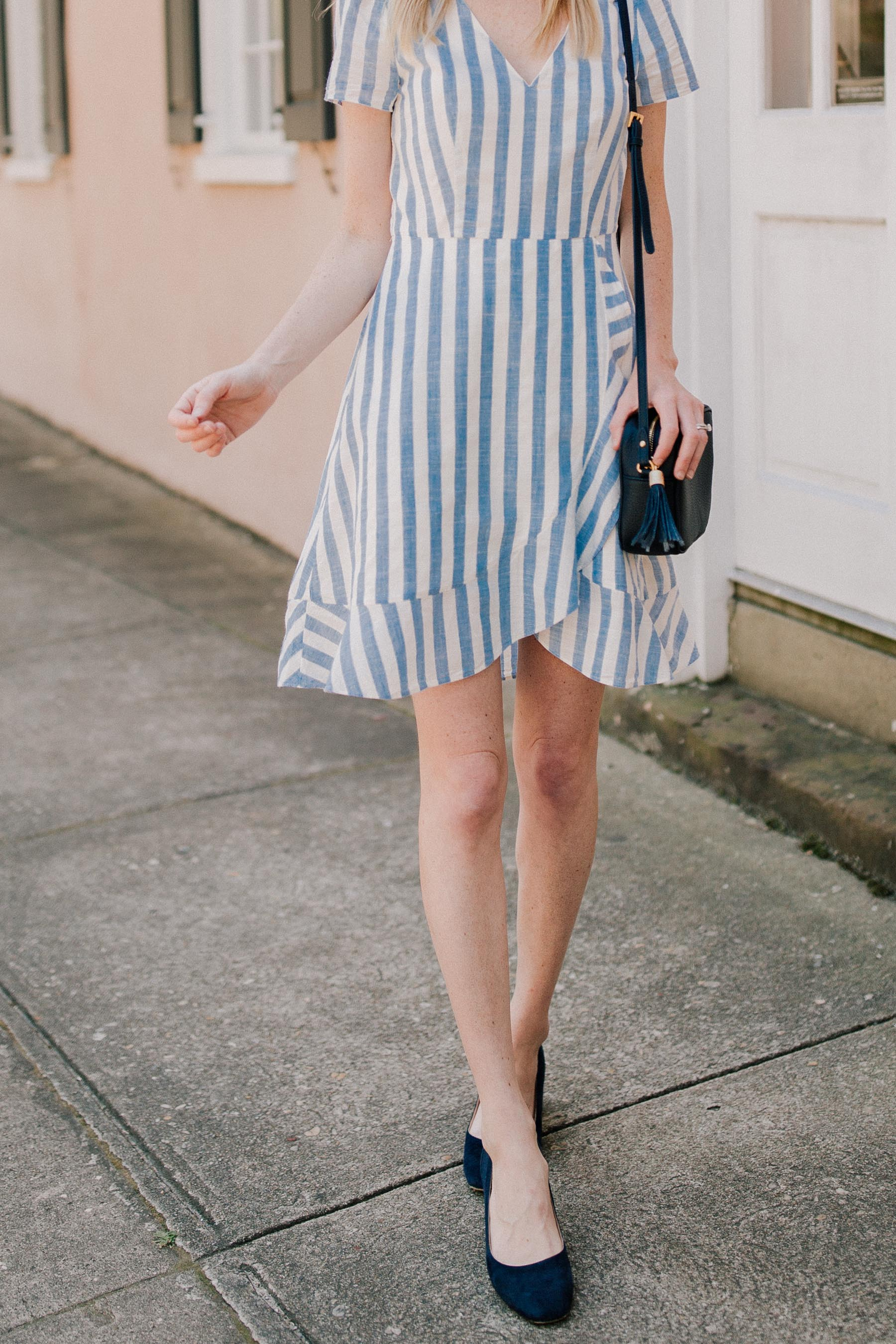 b5c056368e9 Striped Ruffle Wrap Dress by JCrew Factory - Kelly in the City