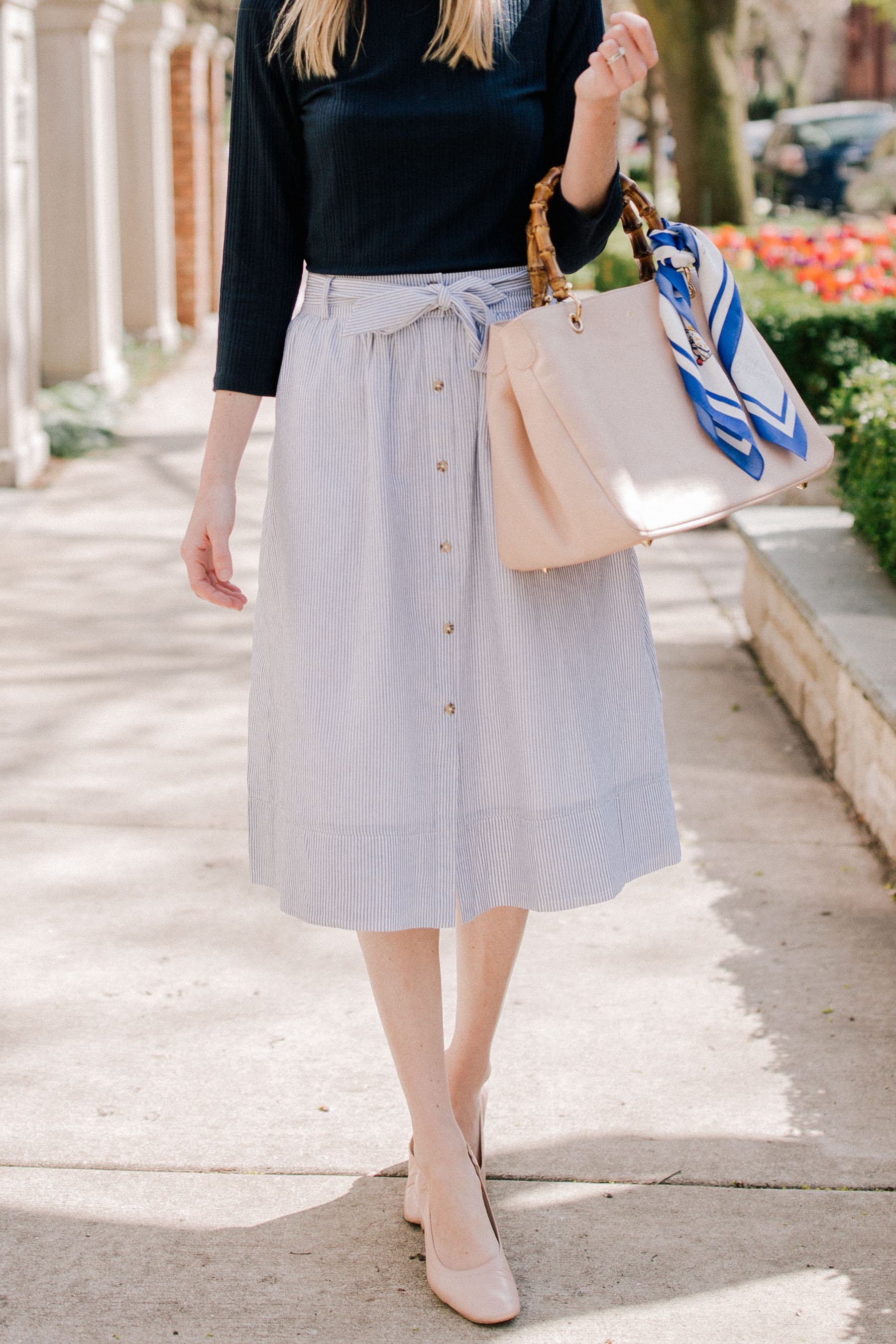 Striped tie front skirt with Everlane Day Heel