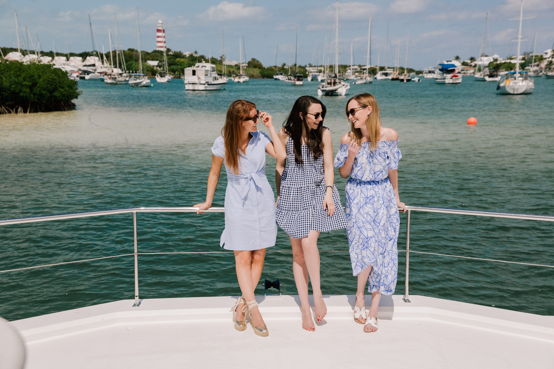 Kelly and her friends in Hope Town Harbor