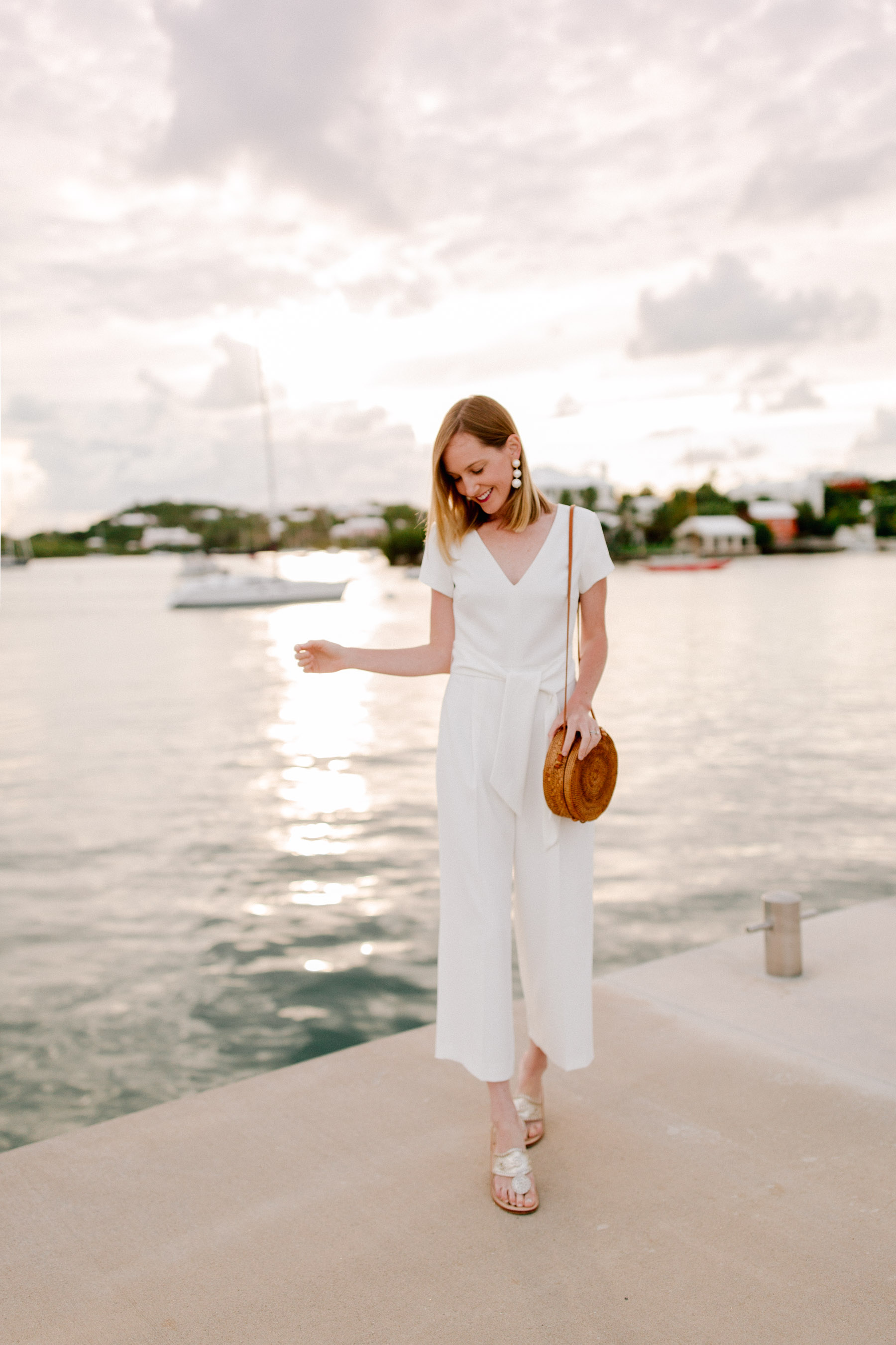 Club Monaco Jumpsuit  / Poppy + Sage Bag / Jack Rogers Sandals / Moon and Lola Earrings - Kelly in the City