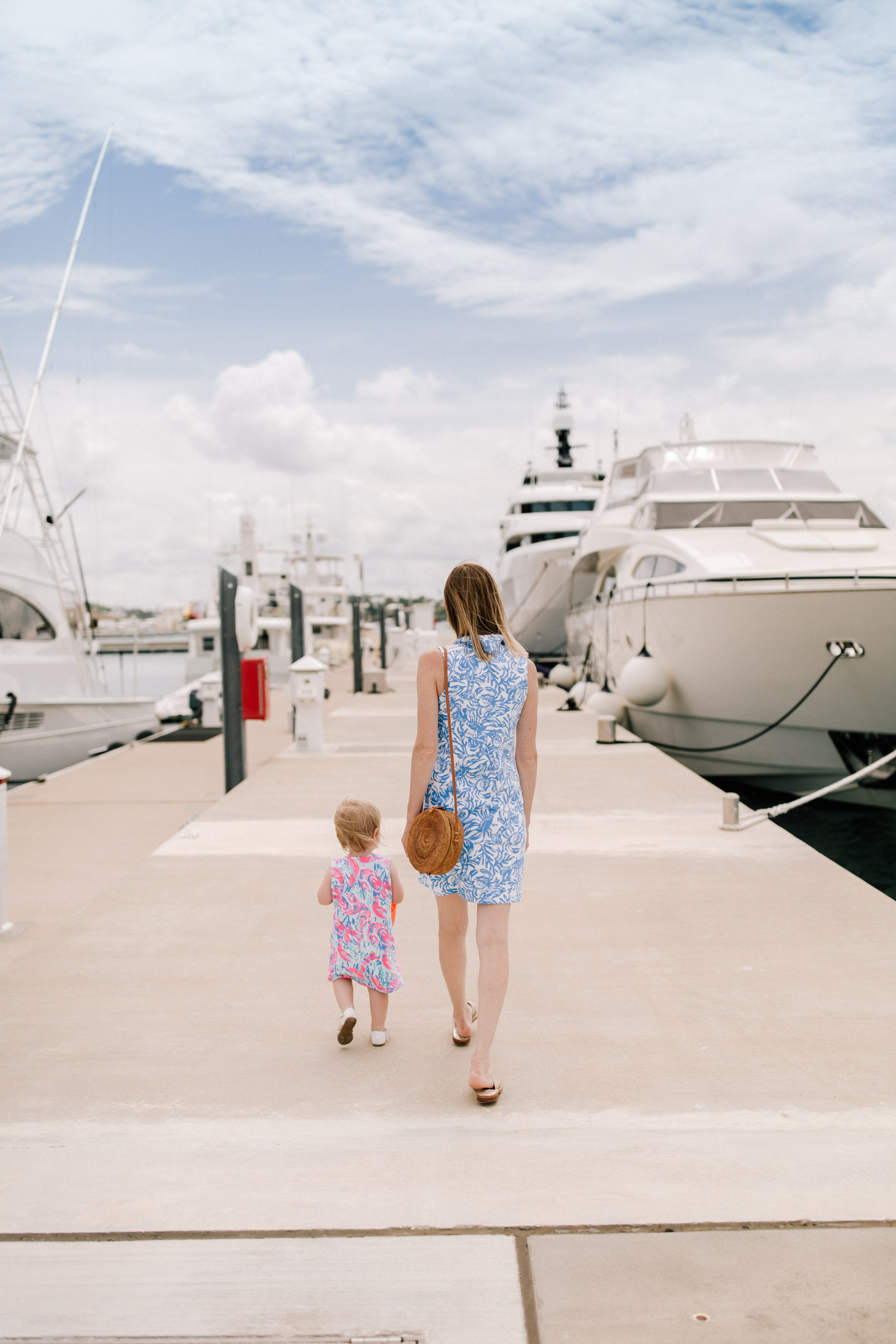 Kelly and Baby Emma are wearing a Lilly Pulitzer dress - Kelly in the City