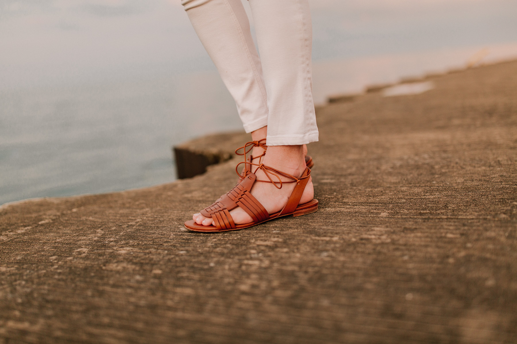 Leather Vachetta Sandals  - Kelly in the city