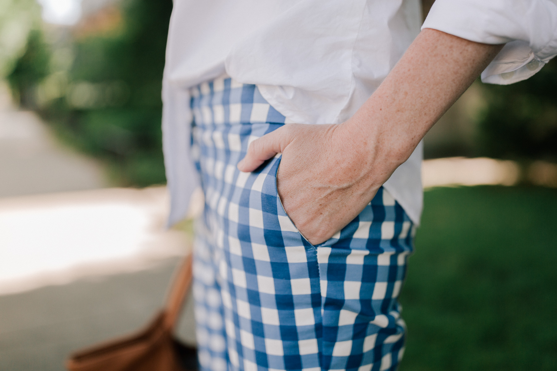 Oversized White Button-Down / Gingham Pants