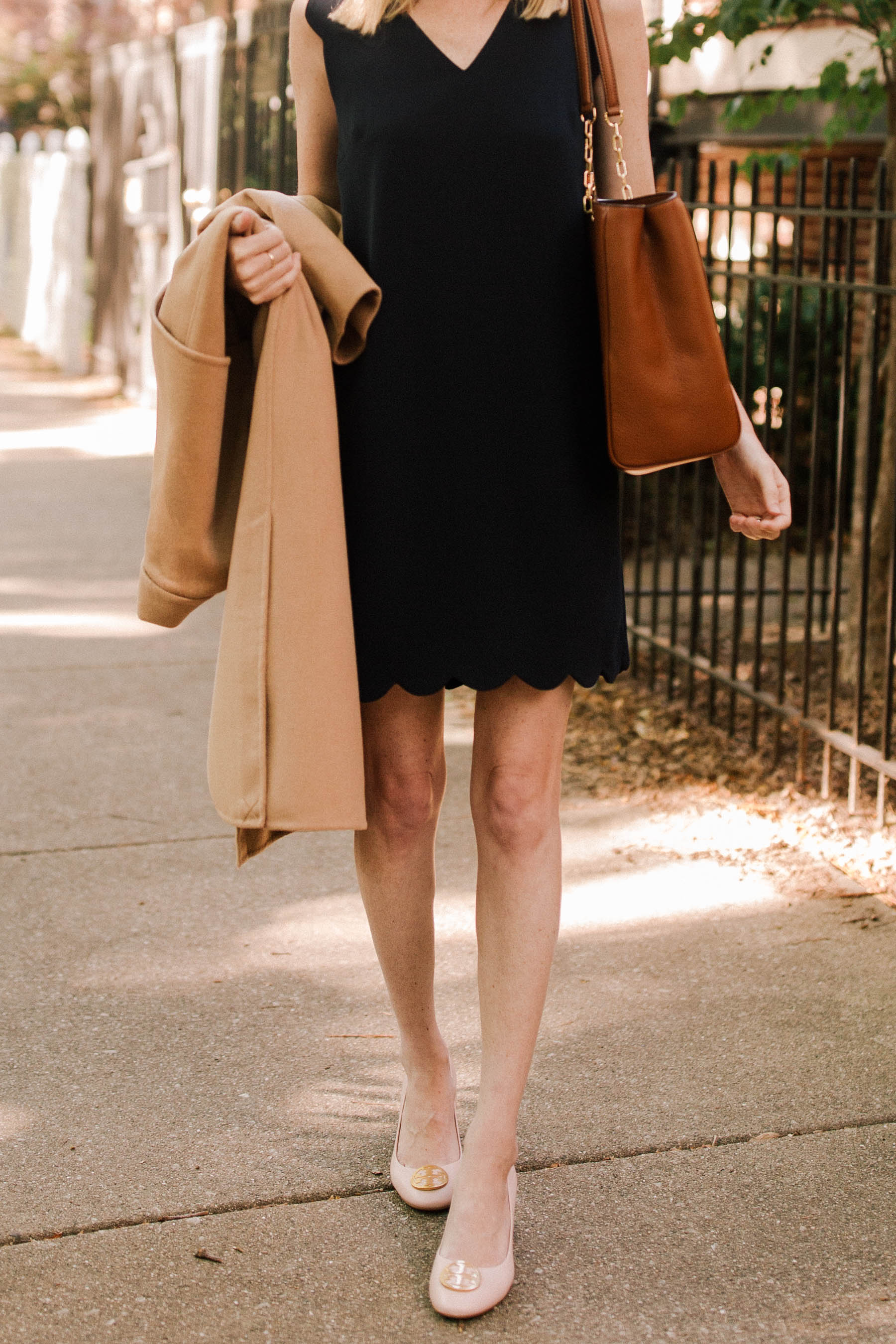Kenneth Cole Wool Long Camel Coat  / CeCe Scalloped Dress / Tory Burch Benton Pump / Tory Burch Marsden Pebbled Leather Tote