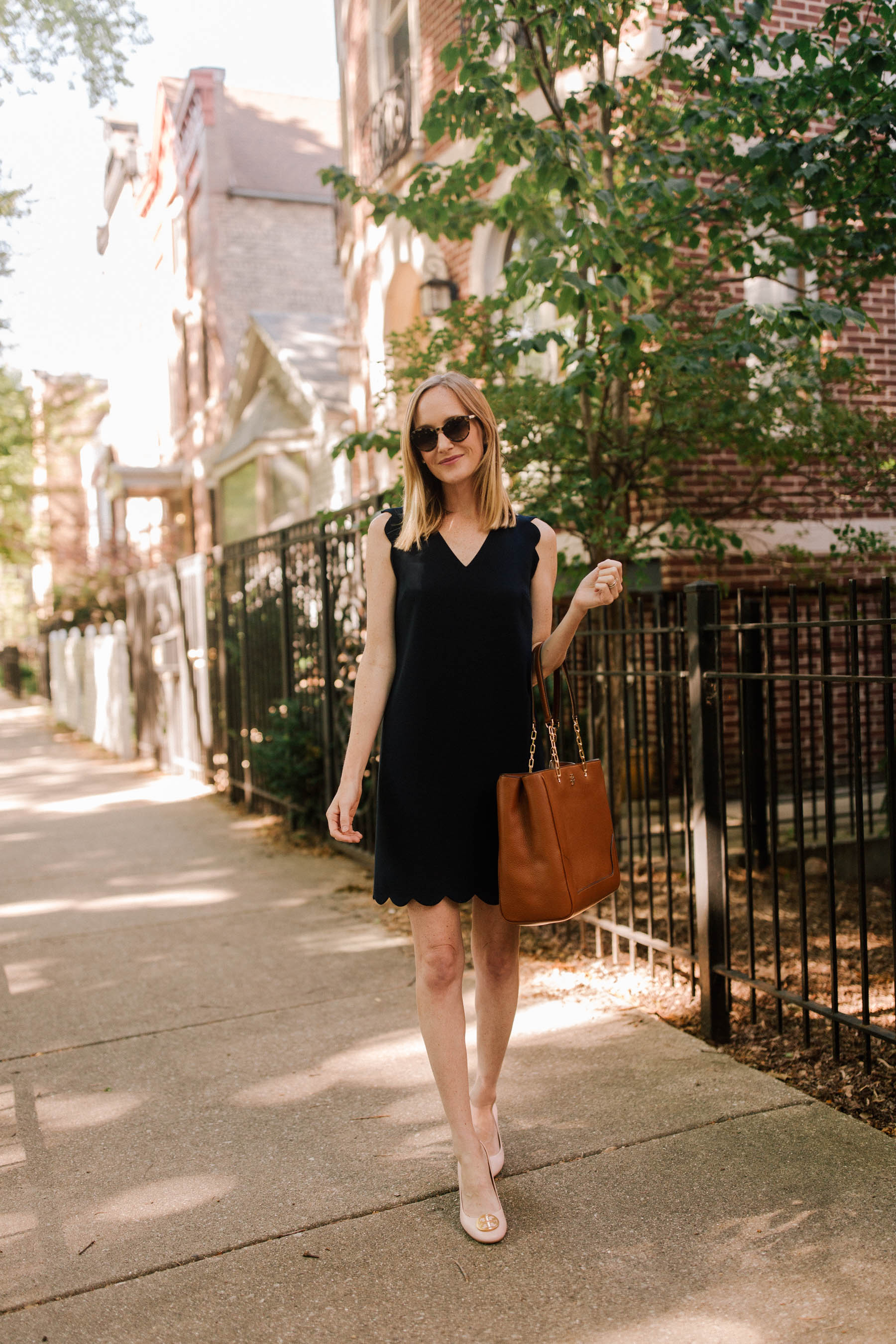 CeCe Scalloped Dress / Tory Burch Benton Pump / Tory Burch Marsden Pebbled Leather Tote