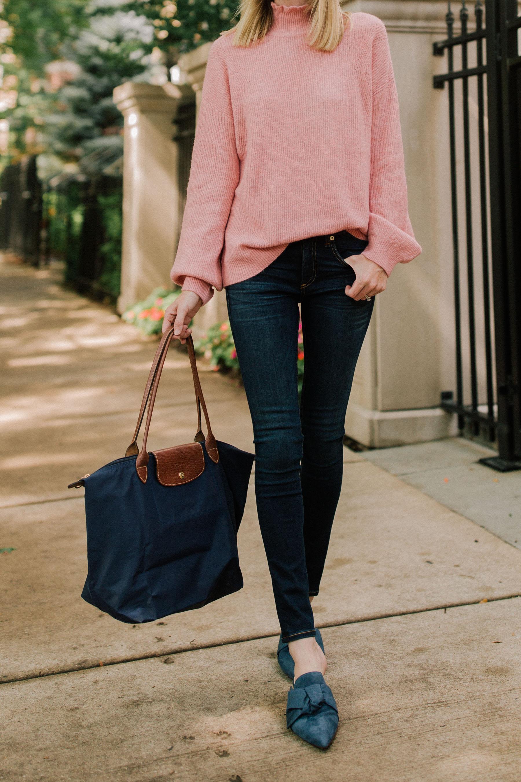 Navy Bow Slides / Halogen Ruffled Sweater /Rag & Bone Skinny Jeans / Longchamp Tote /Monica Vinader Bracelet