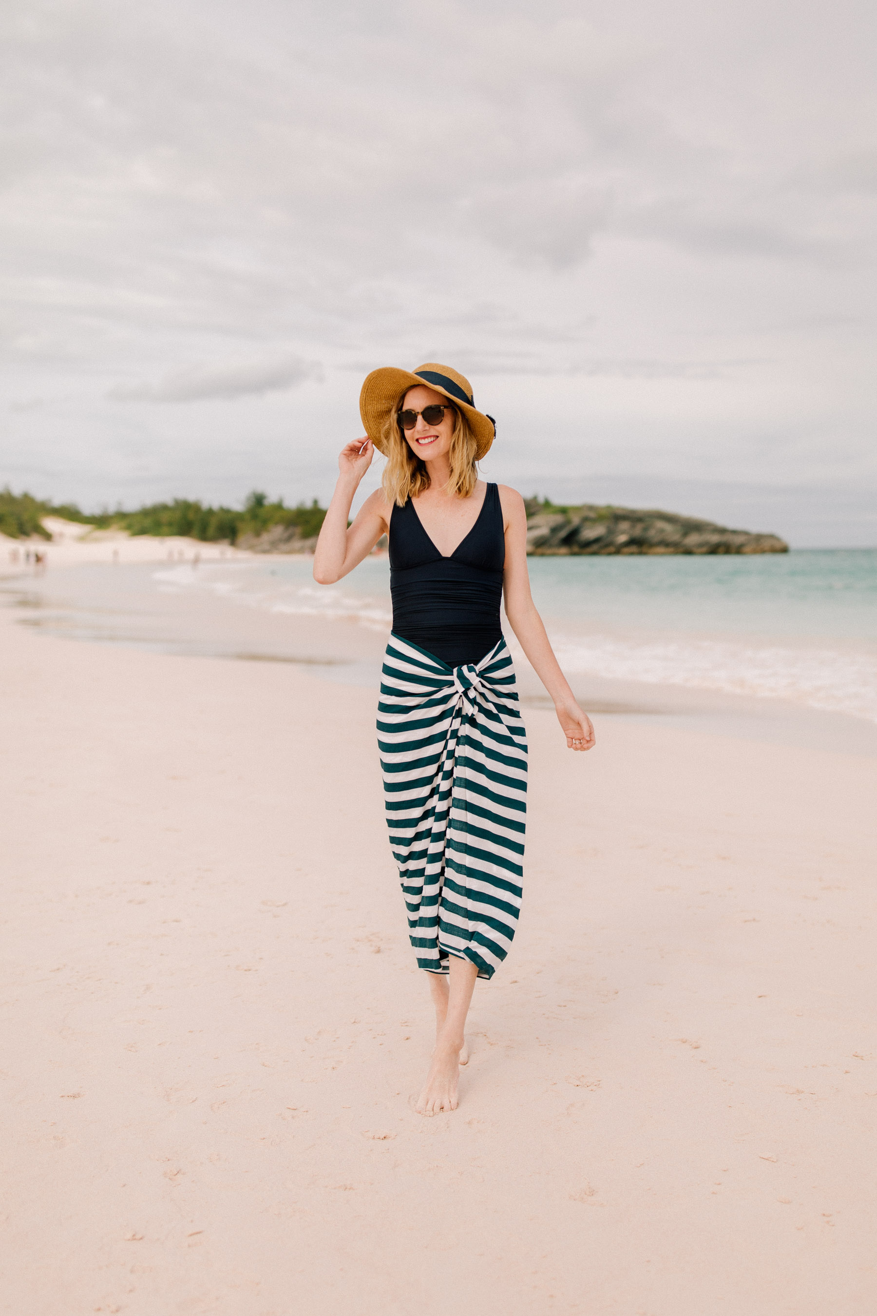 Navy Striped Sarong  / J.Crew Bathing Suit
