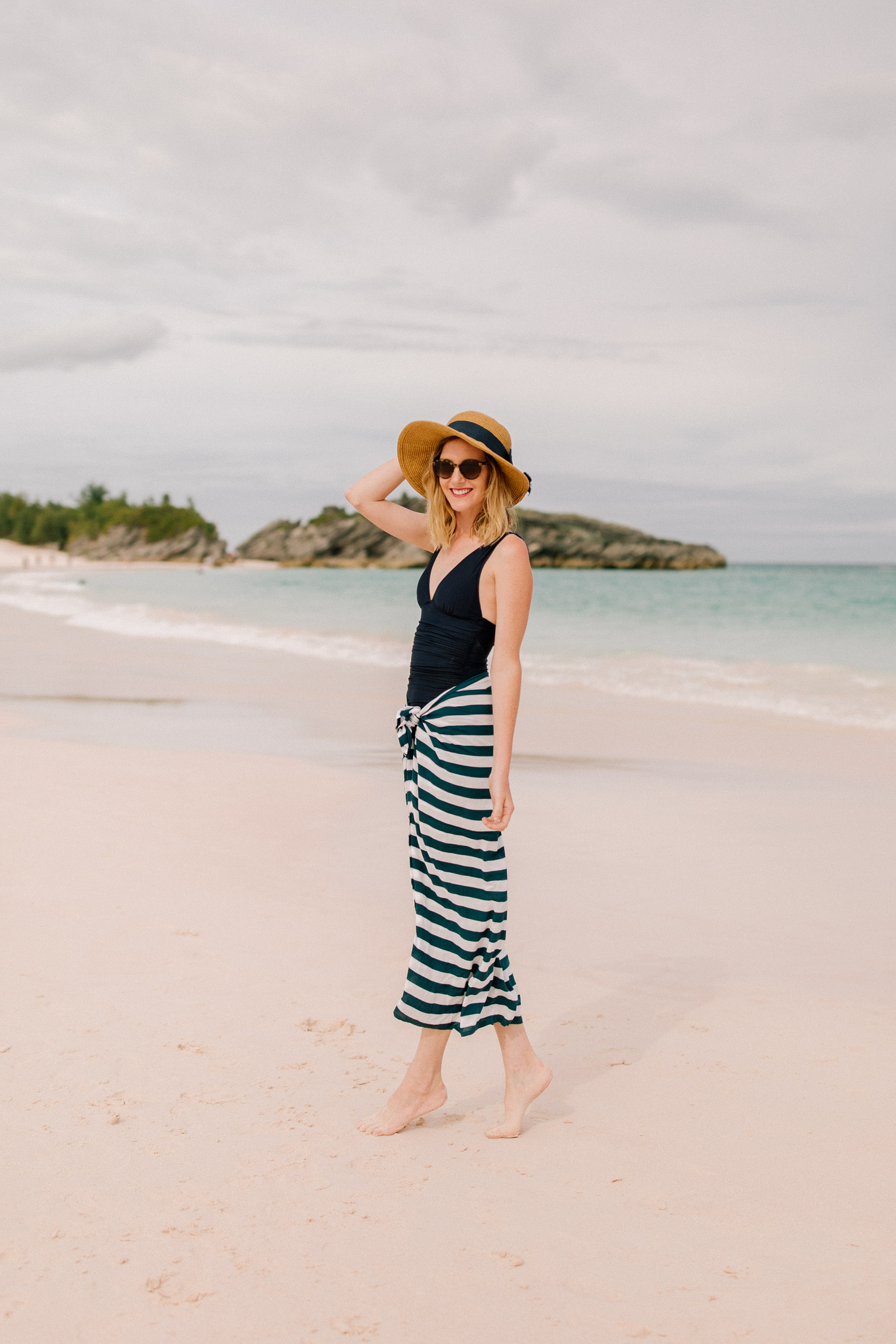 Packable Bow Hat - Tuckernuck /  Navy Striped Sarong / J.Crew Bathing Suit