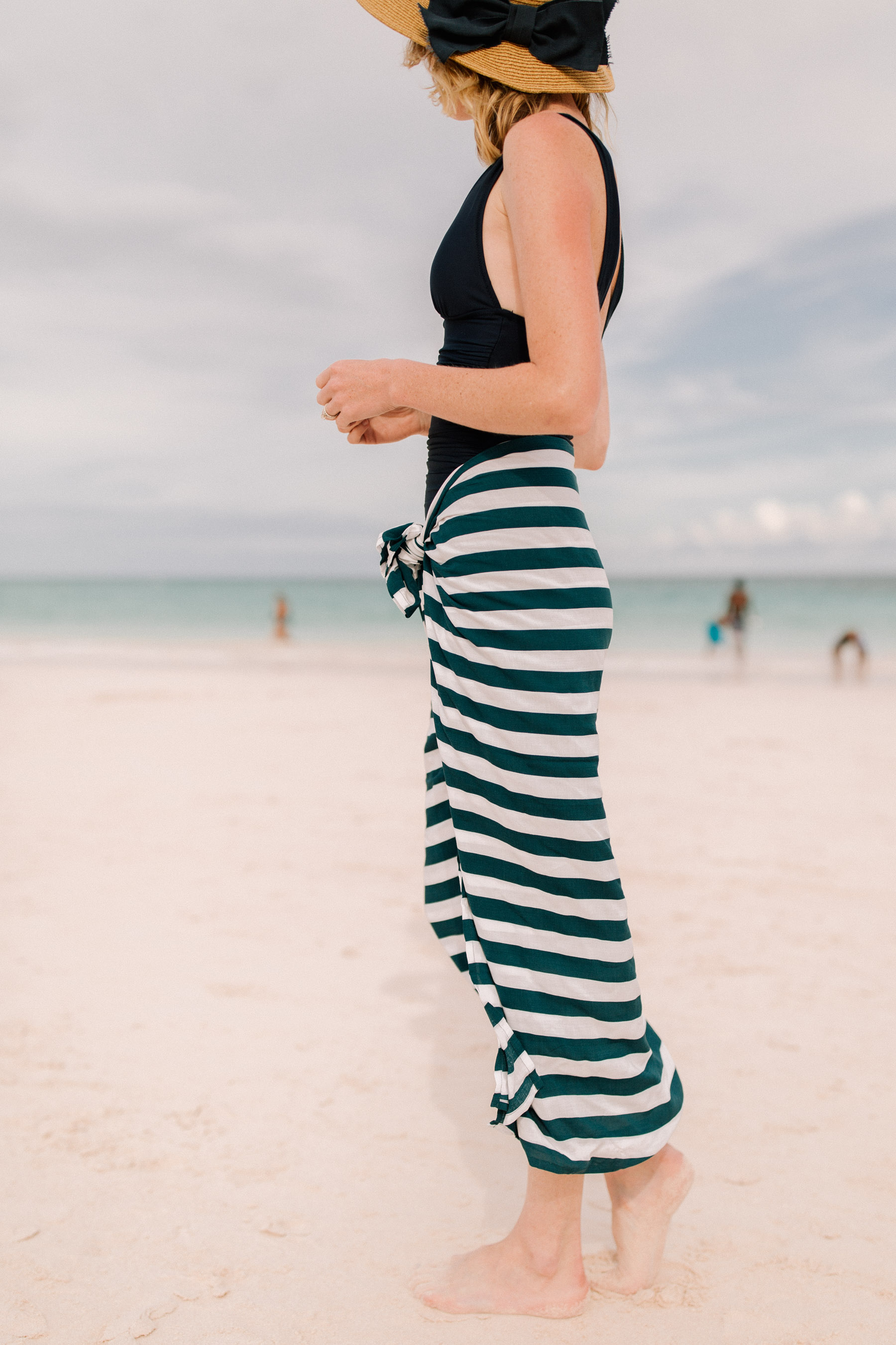 Packable Bow Hat- Tuckernuck +  Navy Striped Sarong / J.Crew Bathing Suit