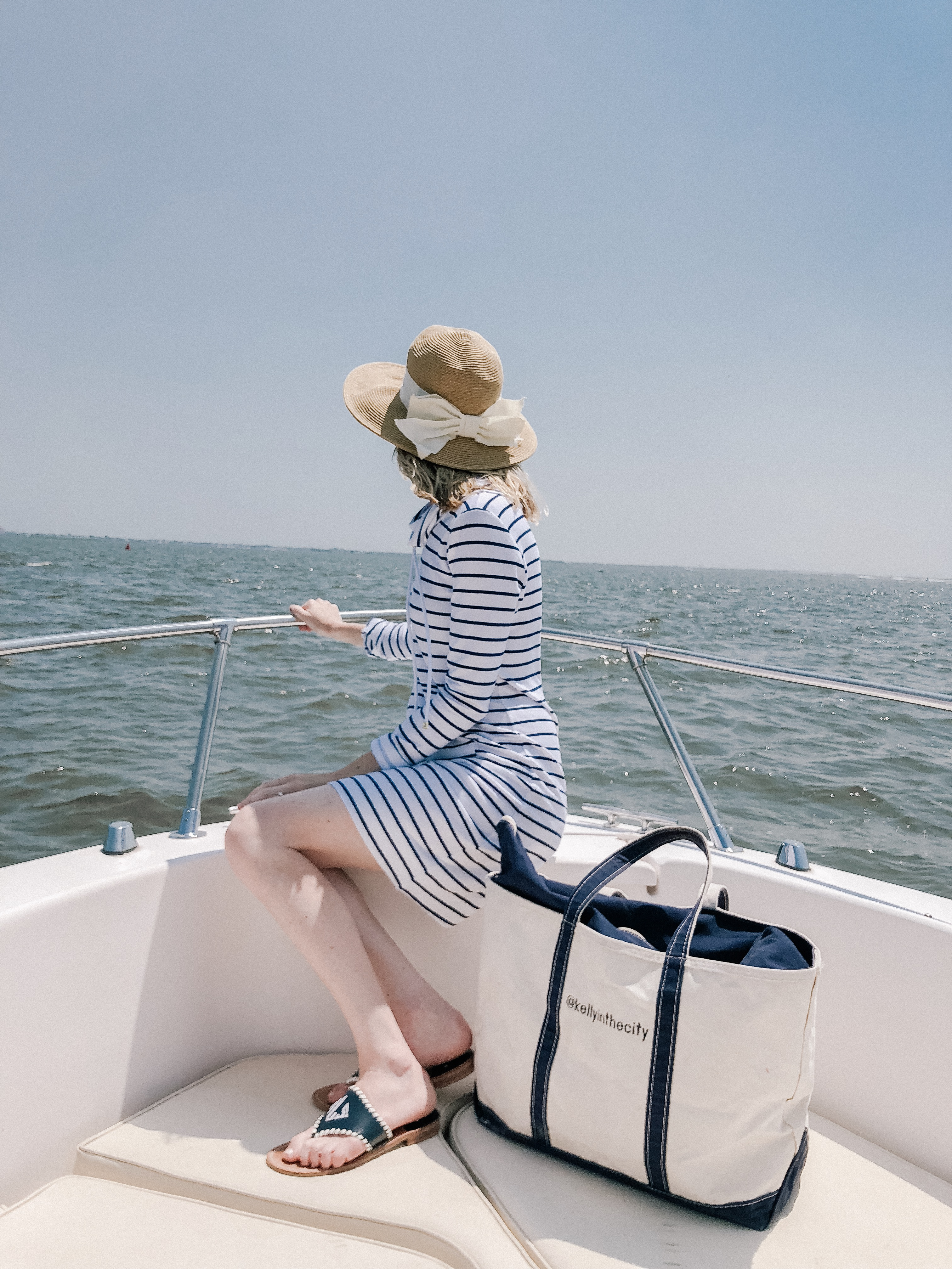 Lilly Pulitzer Striped Popover Dress   /Monogram Jack Rogers c/o  /Packable Bow Hat/ L.L.Bean Tote