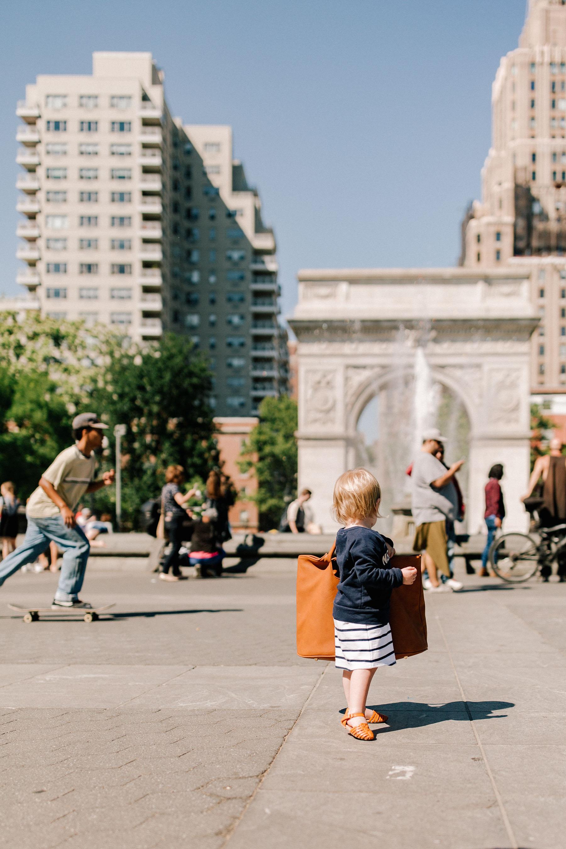 "J.Crew ""New York"" Sweatshirt  / Huarache Sandals/Brown Leather Tote/Gap Kids Dress"