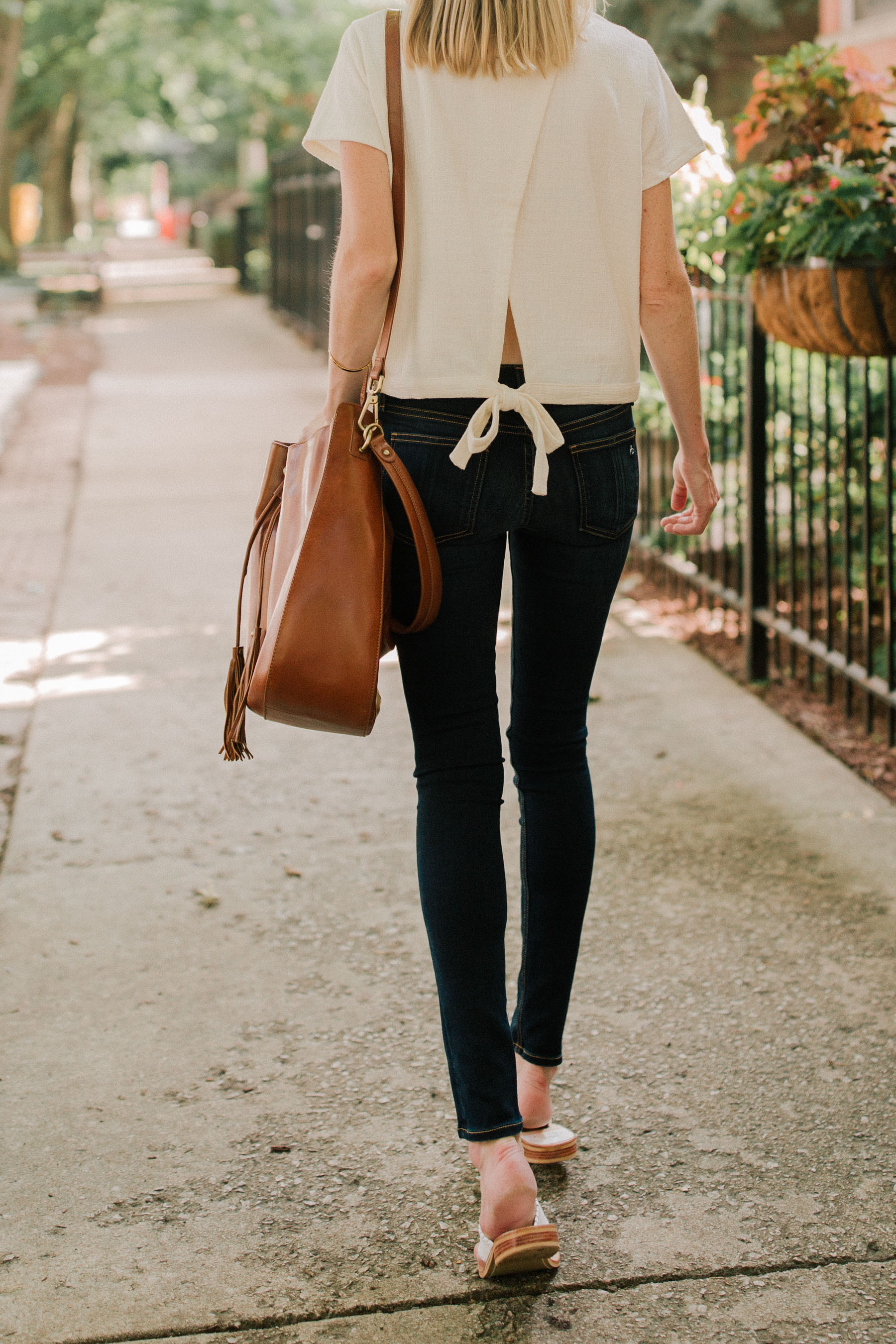 Madewell Tie-Back Top / Rag & Bone Skinny Jeans  | Kelly in the City