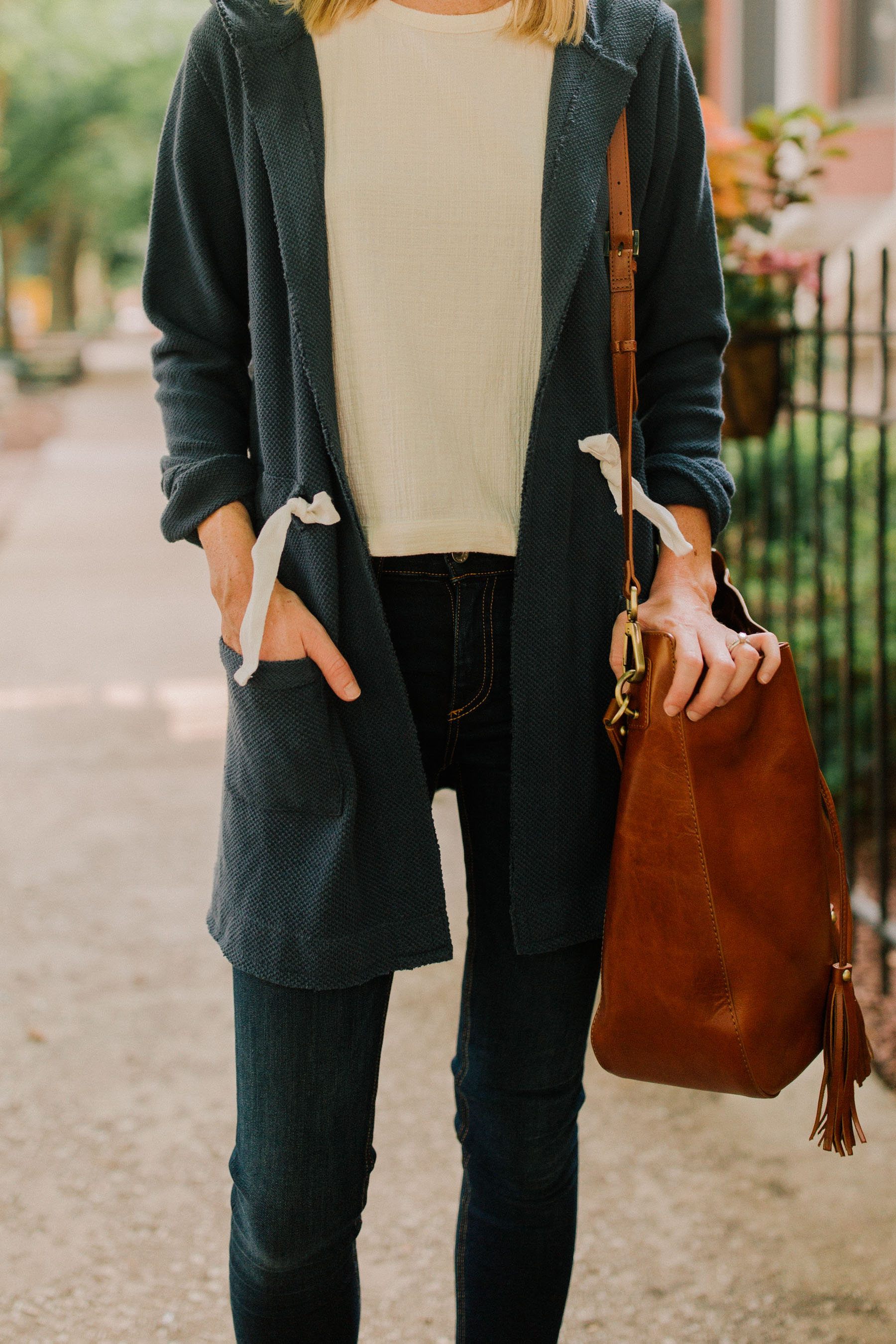 Madewell Tie-Back Top / Rag & Bone Skinny Jeans / Bucket Bag  / Navy Cardigan  / Monica Vinader Bracelet