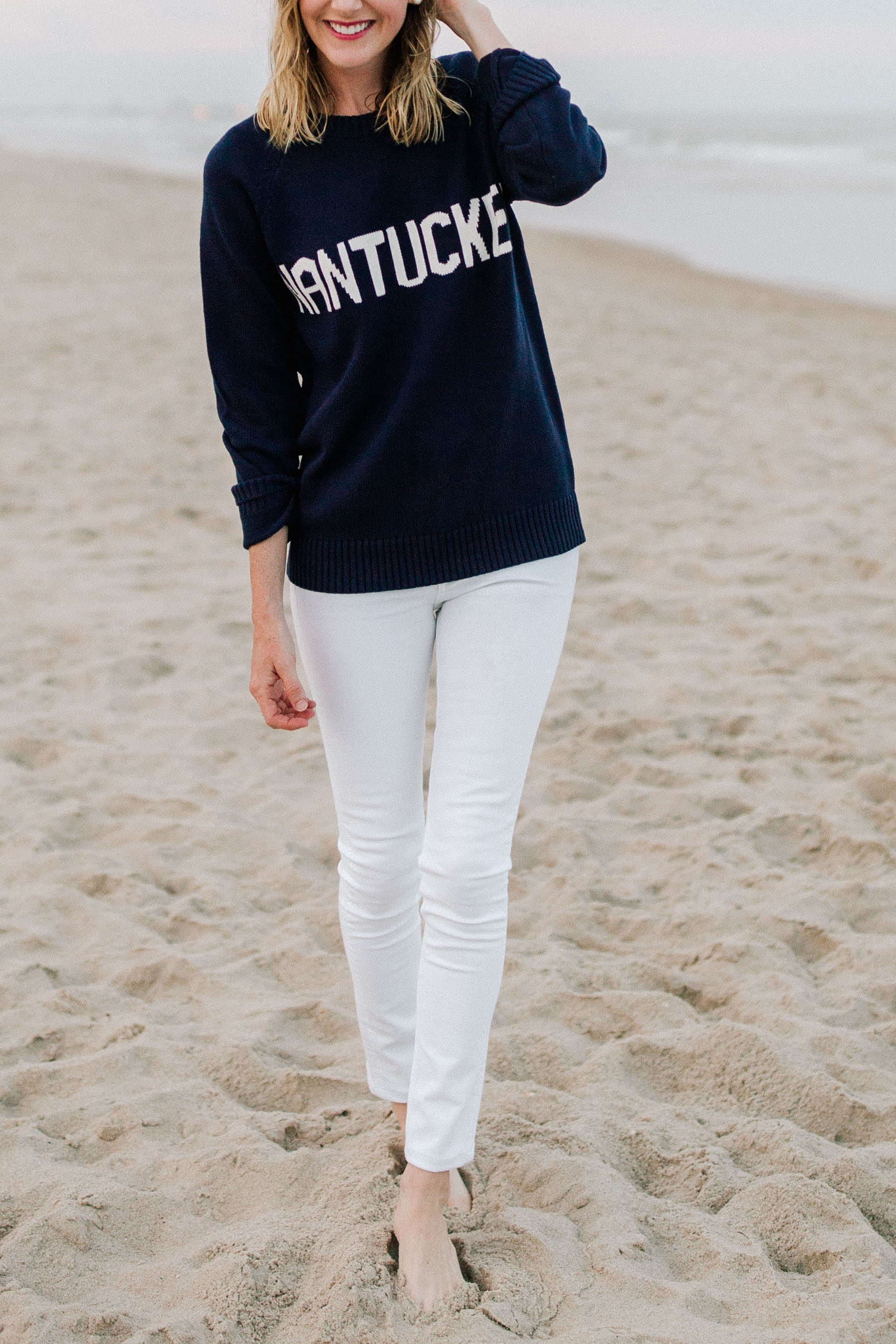 Nantucket Sweater | white jeans - Kelly in the City