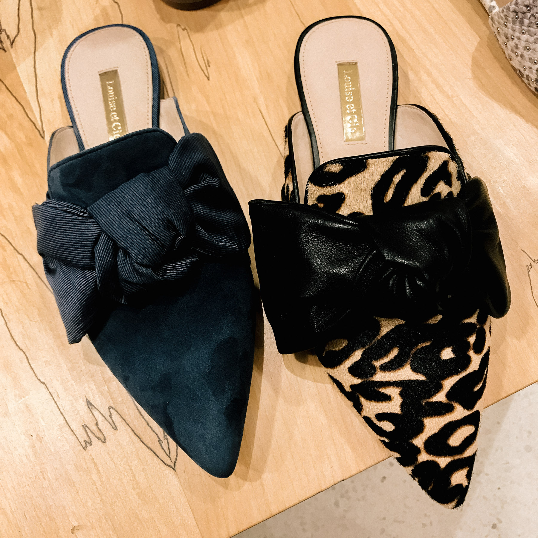 Navy Bow Slide (Also in black and pink) / Leopard Bow Slide