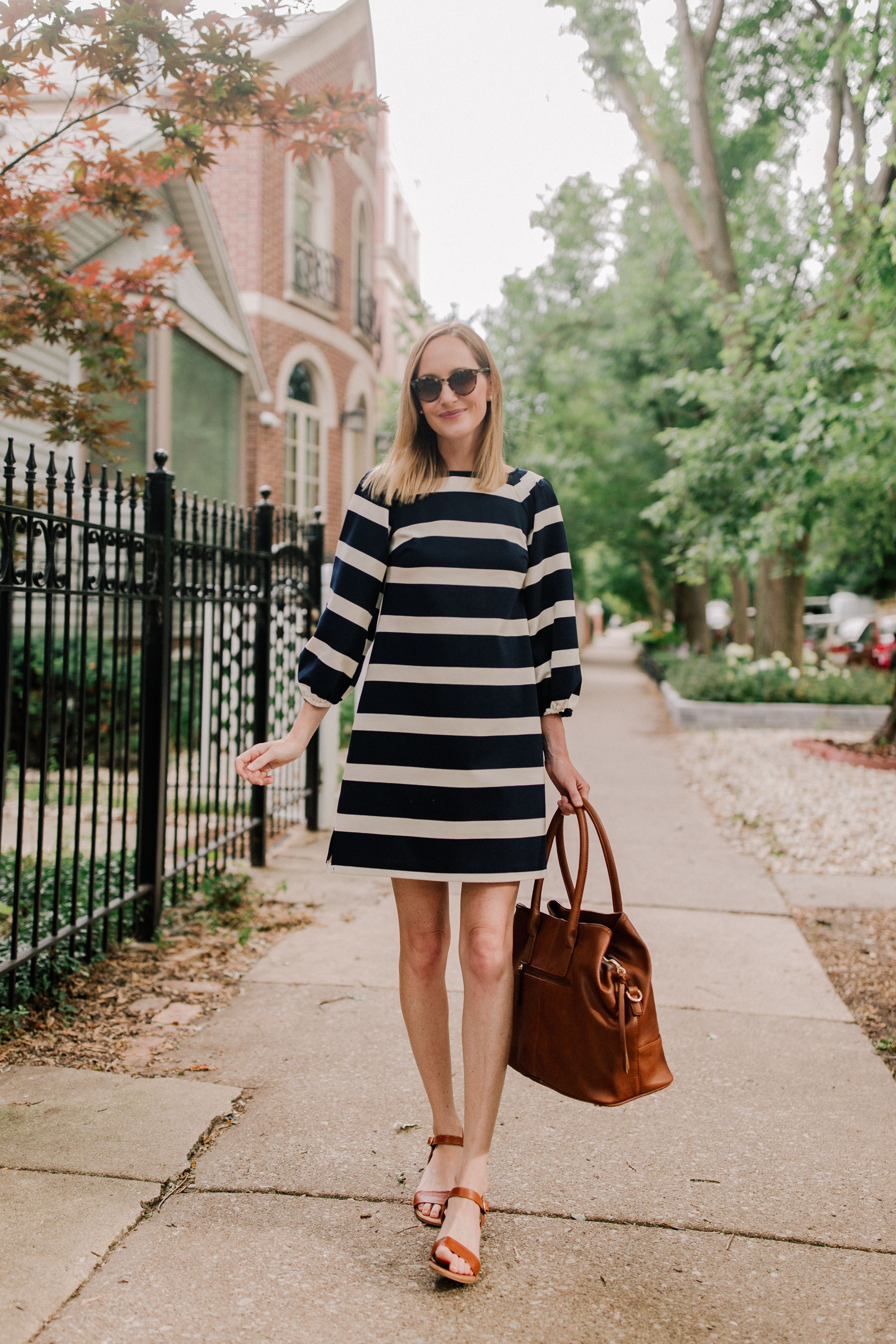 Navy Striped Dress / Leather Tote / Block Heel Sandals