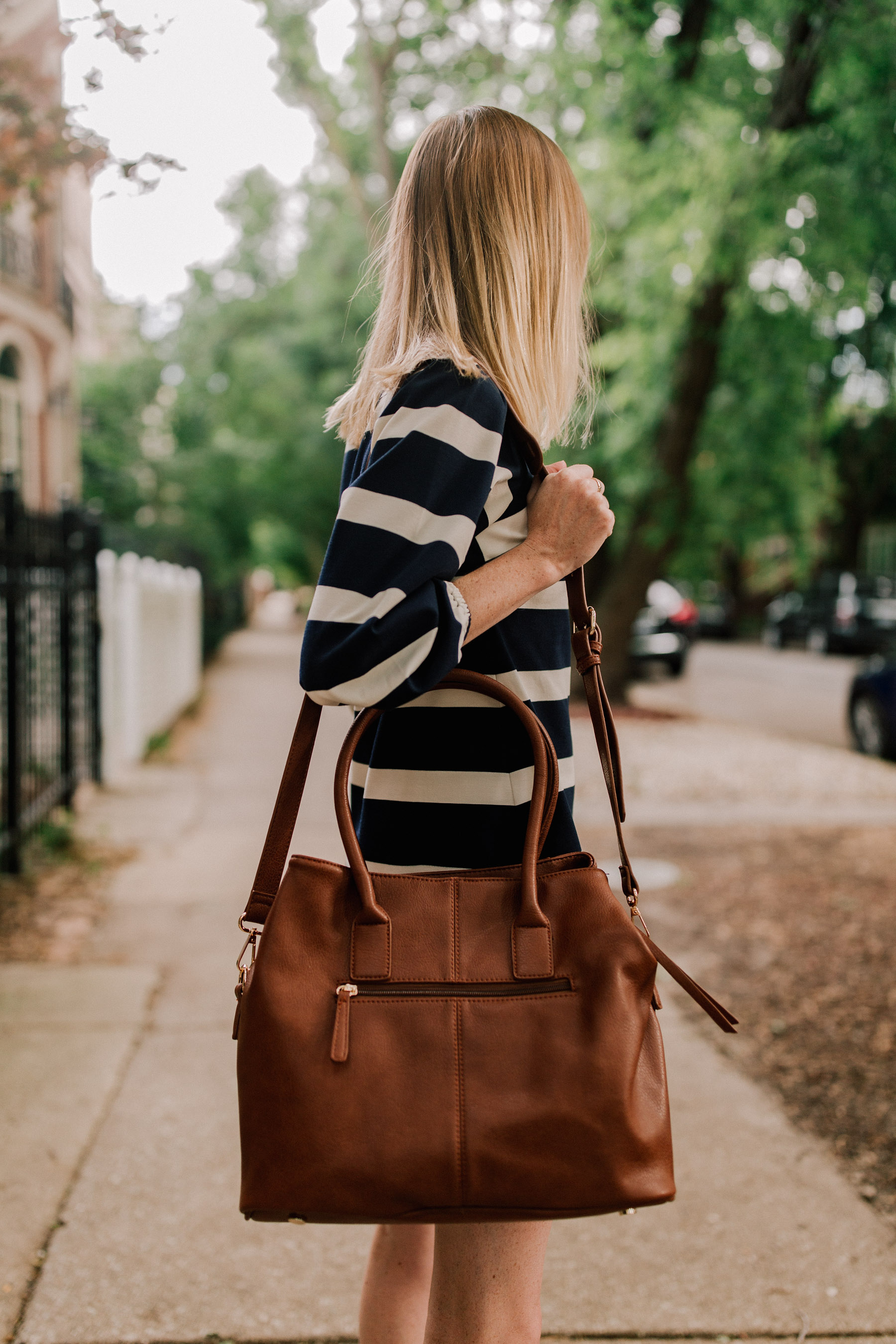 Navy Striped Dress / Leather Tote