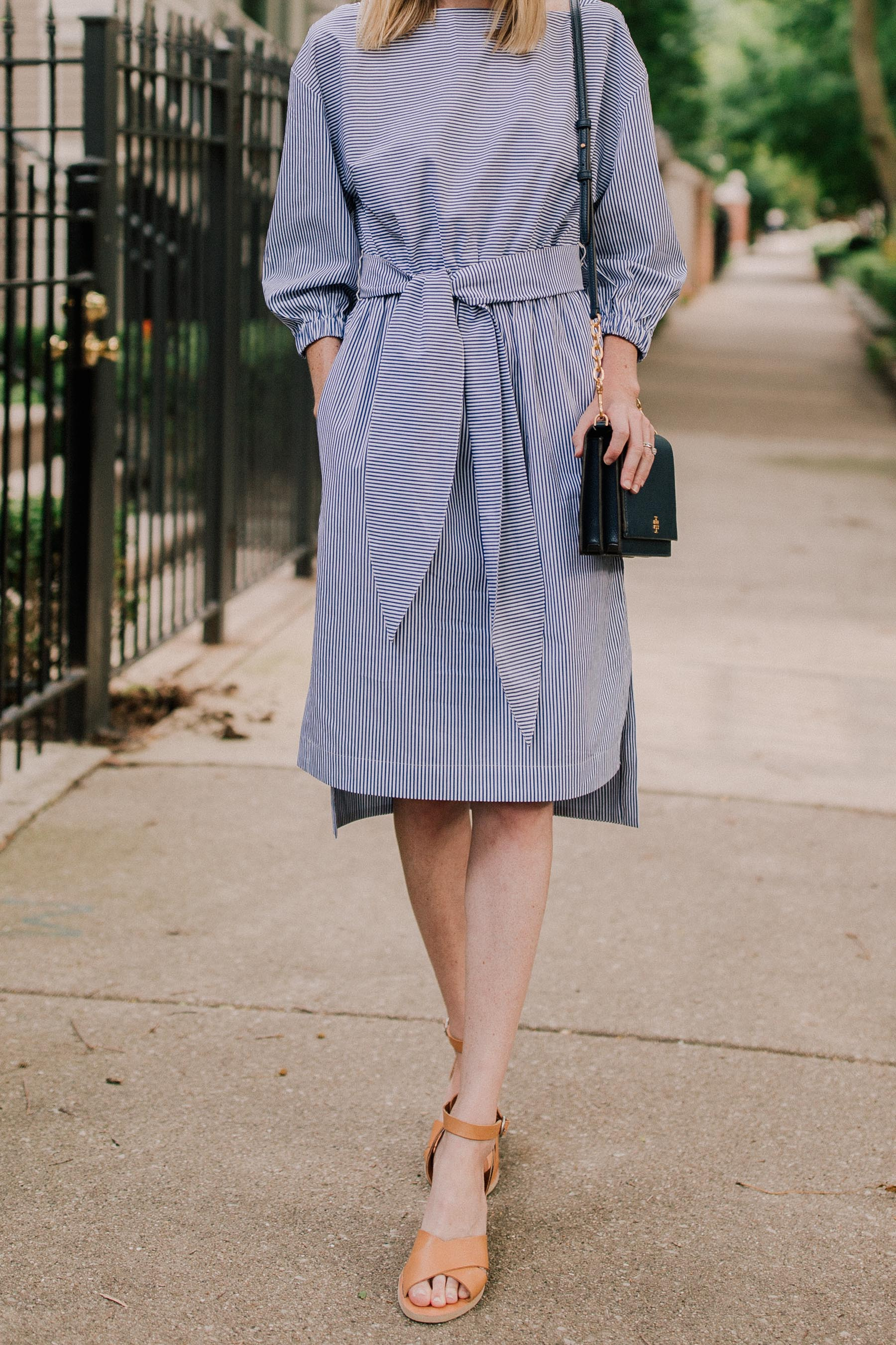 Striped Dress /Tory Burch Navy Bag / Leather Sandals