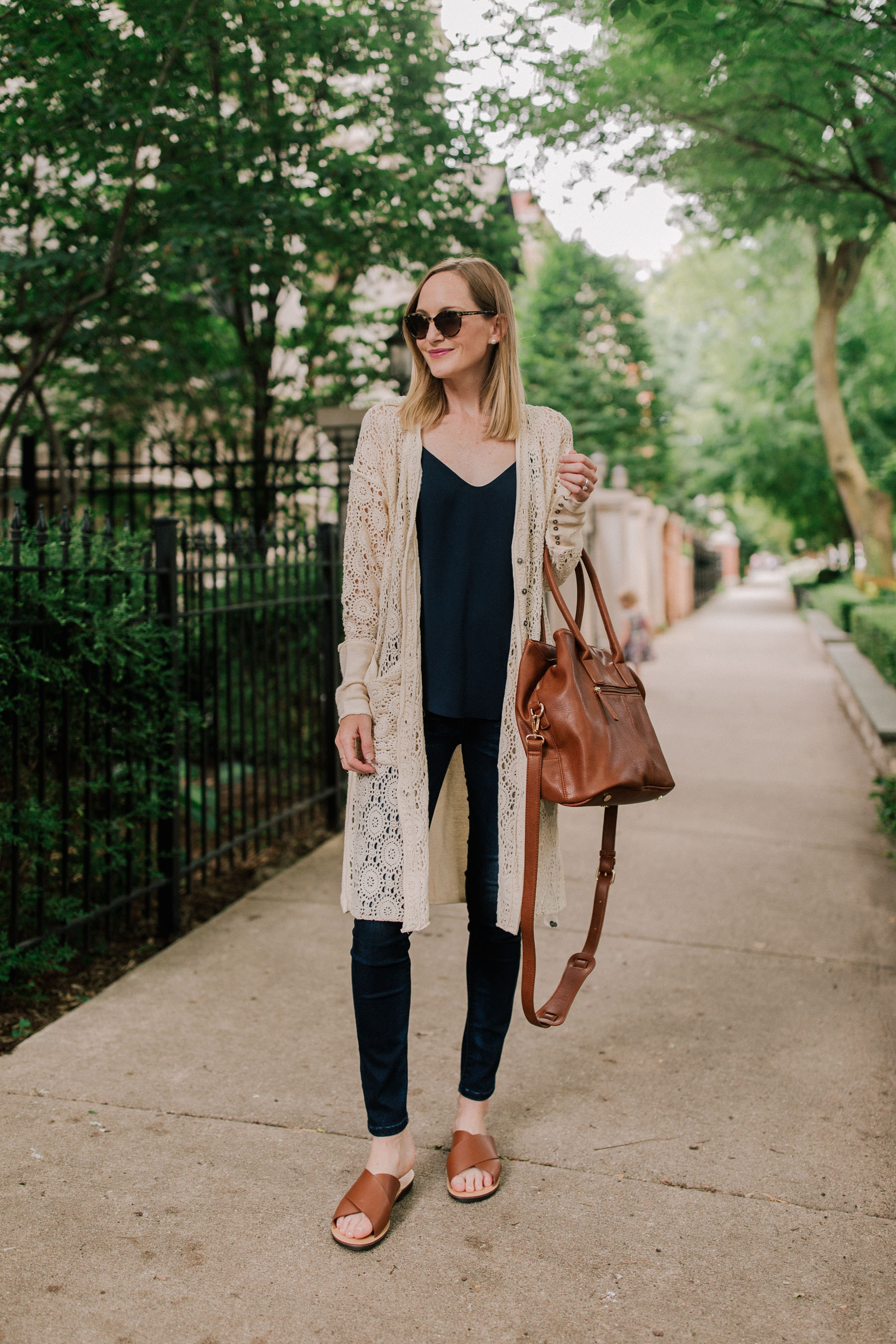 Lacey Cardigan /Brown Cross Strap Sandals/ Favorite Dark Jeans /Leather Tote / Camisole